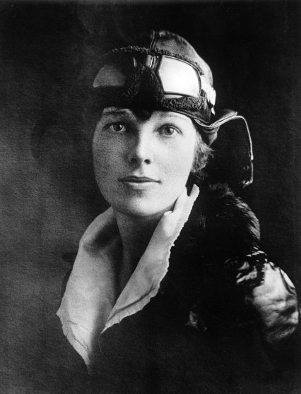 AMELIA EARHART: The first woman to fly solo across the Atlantic ocean, 1928.