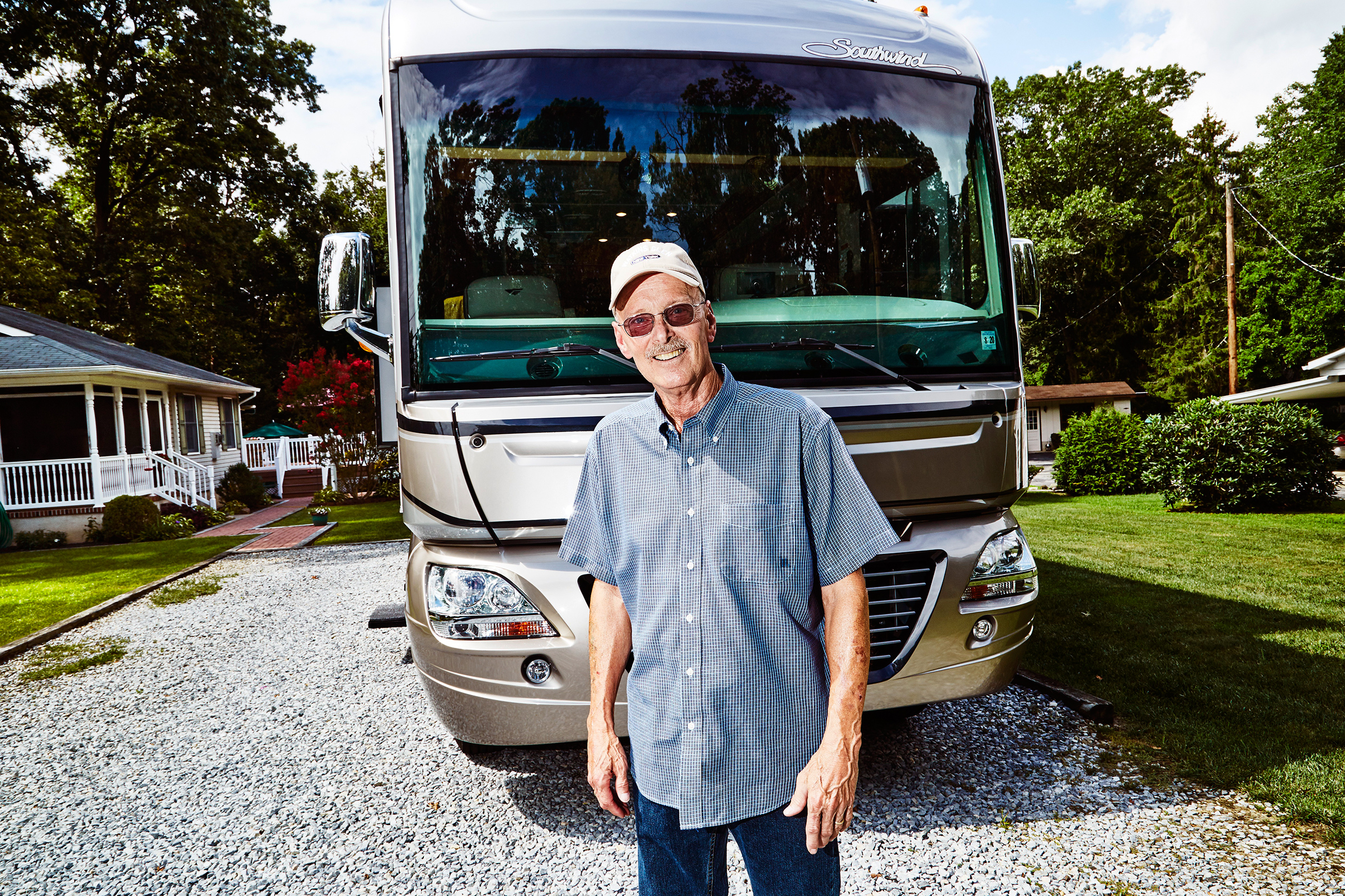 Bill Ludwig with his prized RV