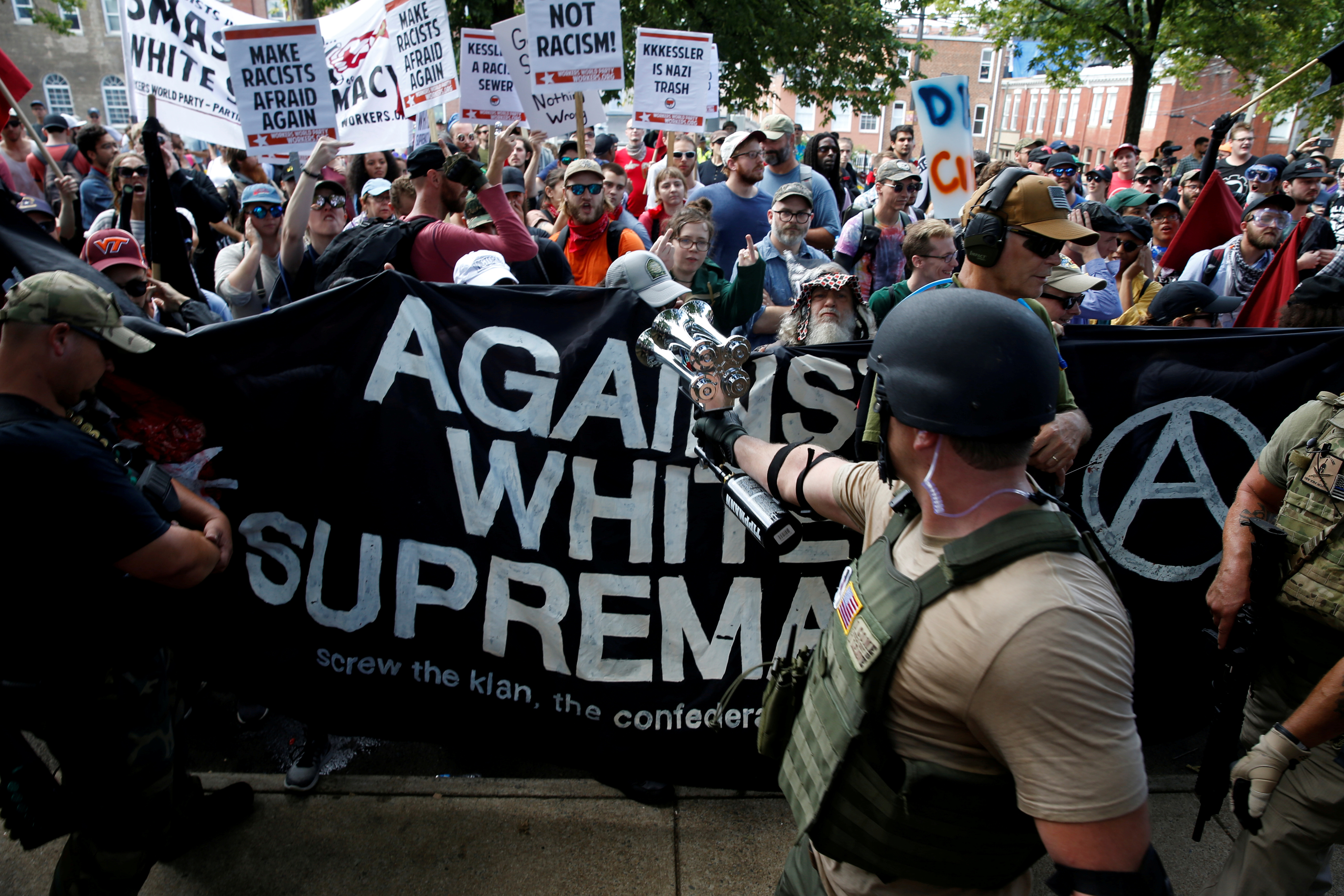White nationalists are met by a group of counter-protesters in Charlottesville, Virginia, August 12, 2017.