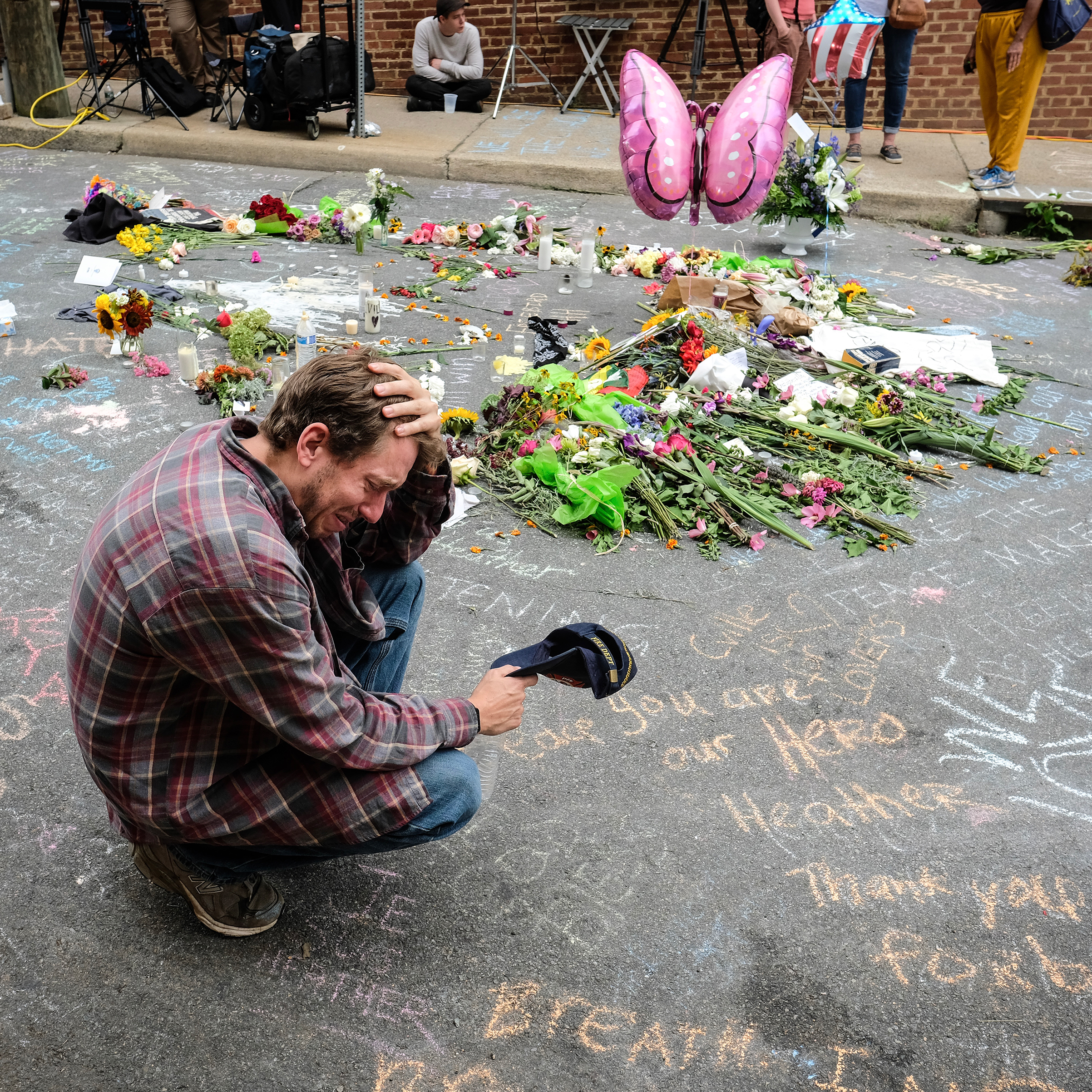 Jake Westley Anderson visits the spot where Heather Heyer died on Aug. 12.