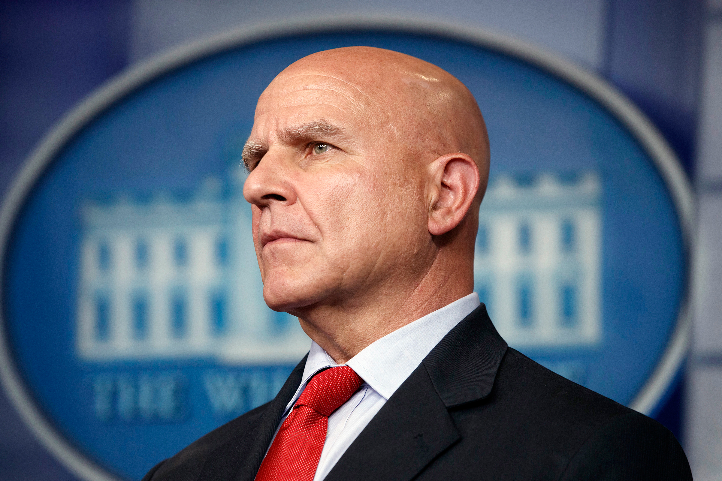 National security adviser H.R. McMaster listens during the daily press briefing at the White House, July 31, 2017, in Washington.