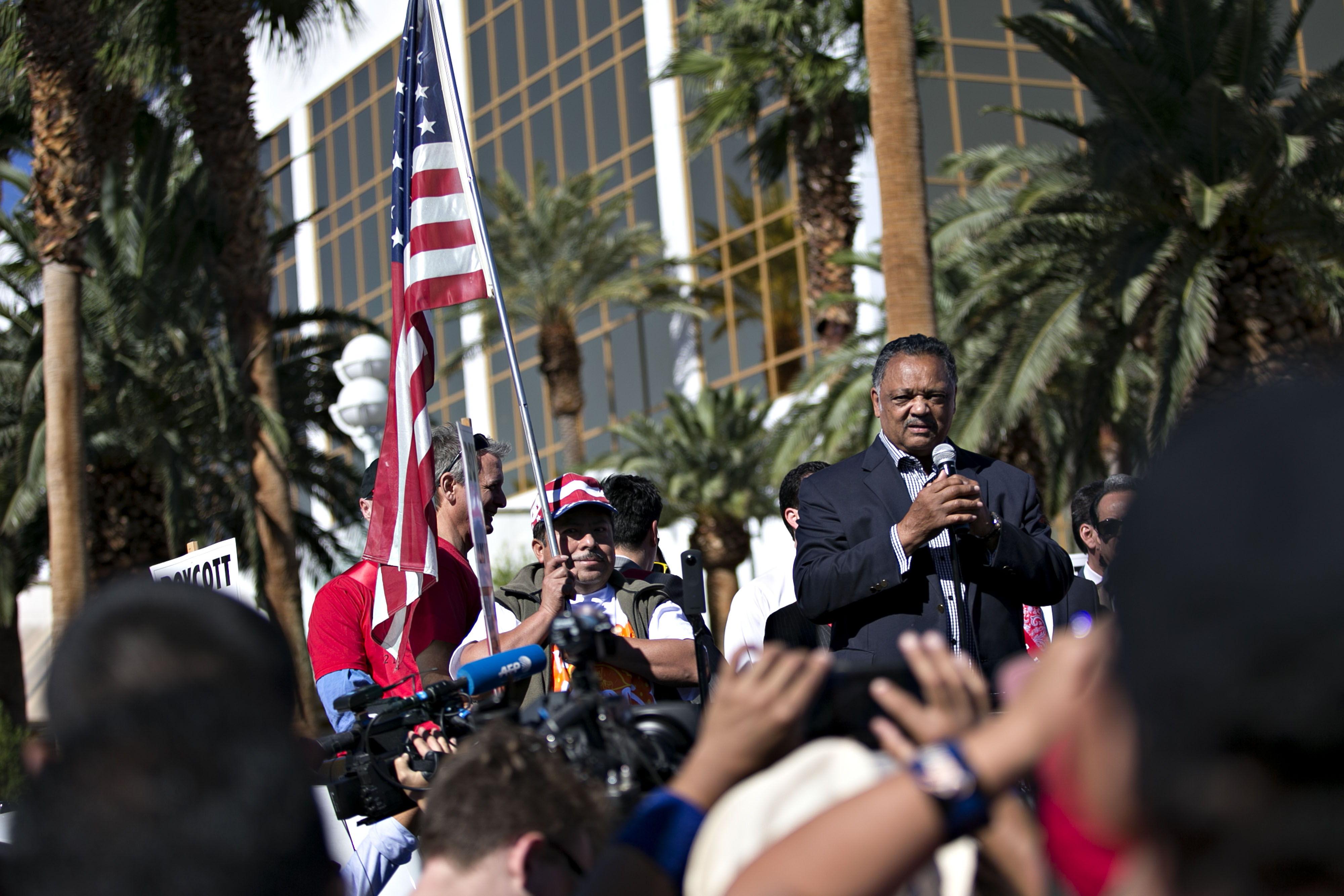 Reverend Jesse Jackson speaks during a demonstration outside the Trump International Hotel Las Vegas ahead of the third presidential debate in Las Vegas, Nevada, U.S., on Wednesday, Oct. 19, 2016. The debate, moderated by Chris Wallace of Fox News, will be the final meeting of Donald Trump and Hillary Clinton ahead of the November 8 presidential election. Photographer: Daniel Acker/Bloomberg