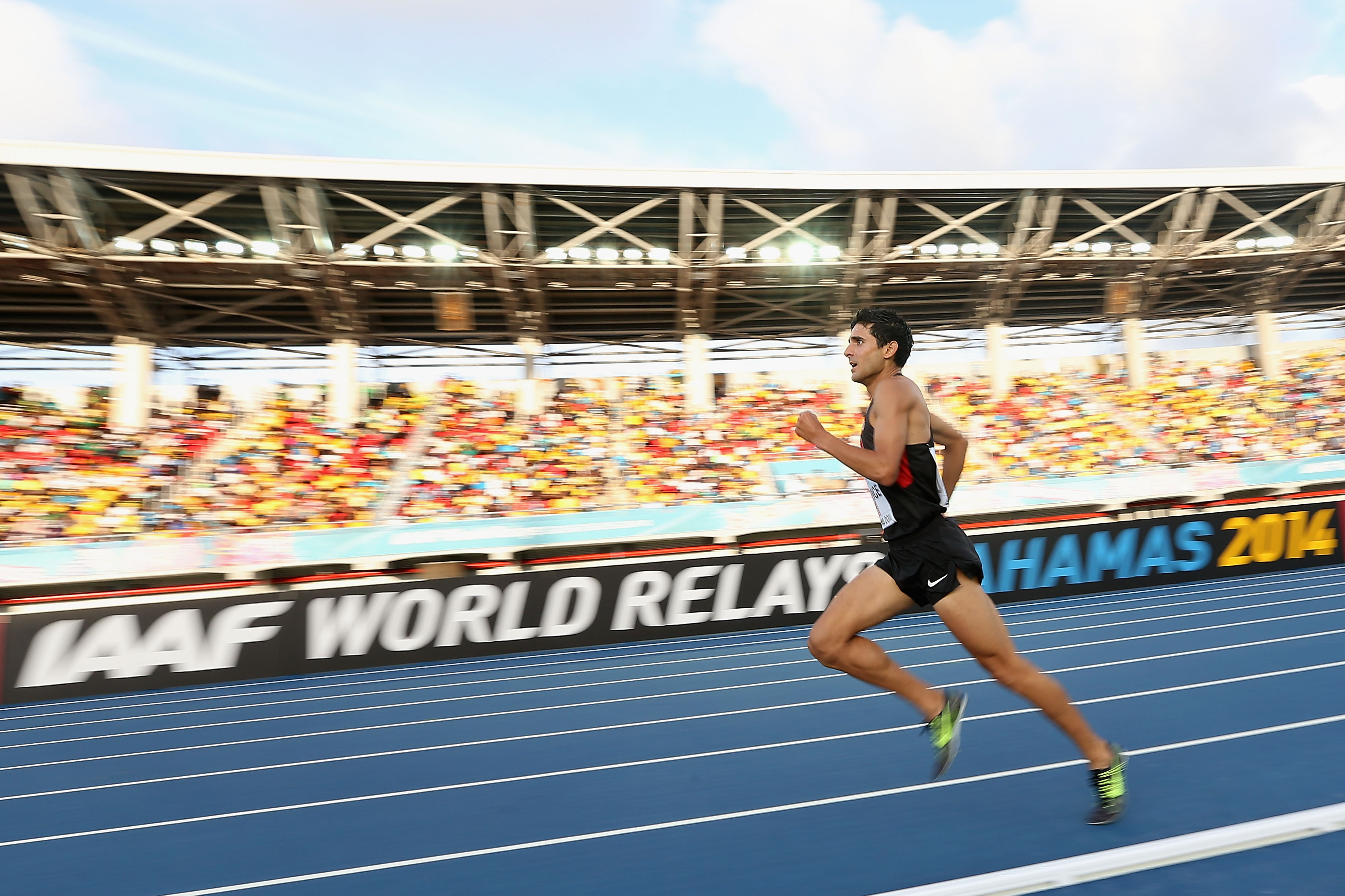 David Torrence of the United States competes in the Men's 4x1500 metres relay final during day two of the IAAF World Relays at the Thomas Robinson Stadium on May 25, 2014 in Nassau, Bahamas.