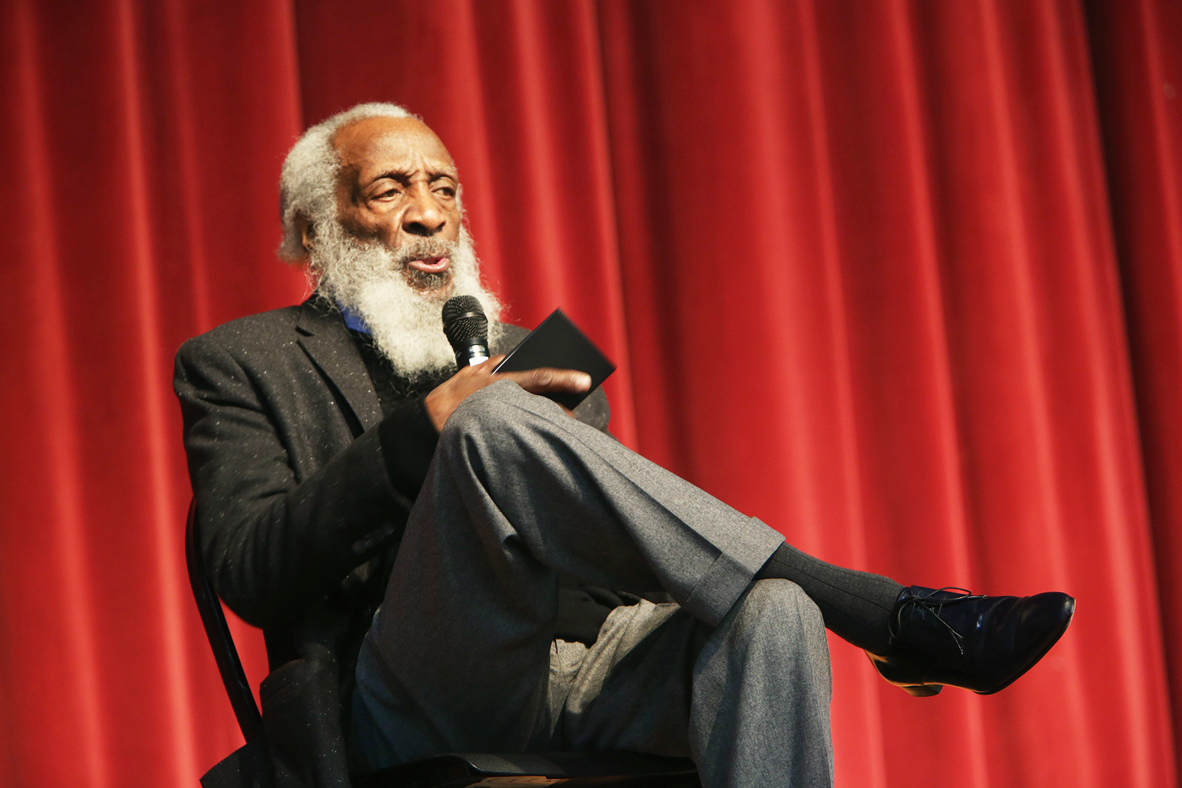 Dick Gregory, long time civil rights activist, writer, social critic, and comedian, talks to the crowd at the 16th annual Tampa Bay Black Heritage Festival, MLK Leadership Luncheon in Tampa, Fla. on Jan. 20, 2016.