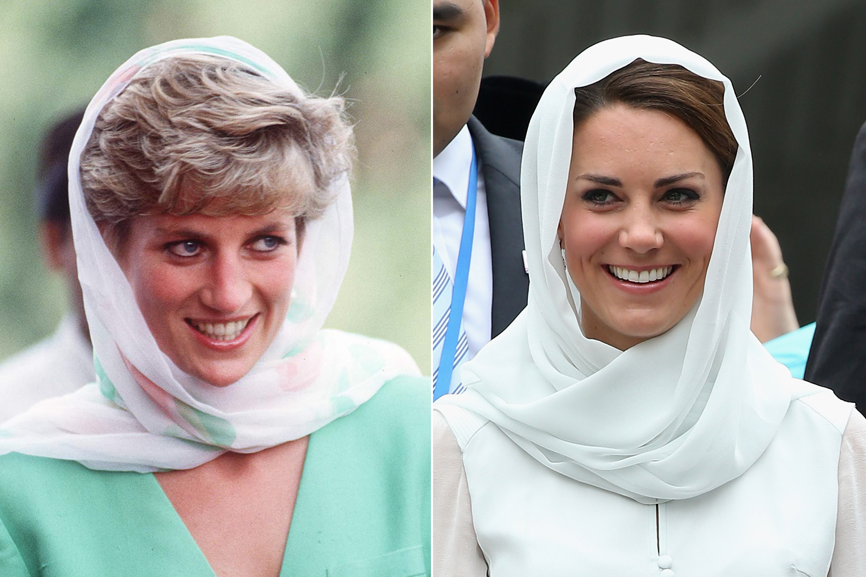The Princess opted to cover her head on a trip to Pakistan, observing the customs of modesty for women in the country. Kate followed suit by observing religious protocol during a trip to Malaysia.