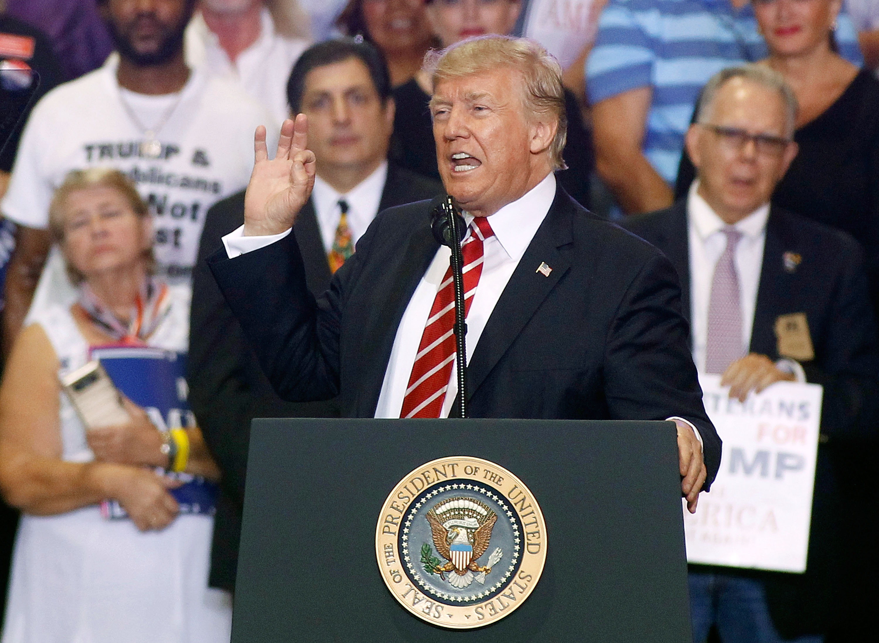 President Donald Trump speaks to a crowd of supporters at the Phoenix Convention Center during a rally on Aug. 22, 2017 in Phoenix, Arizona.
