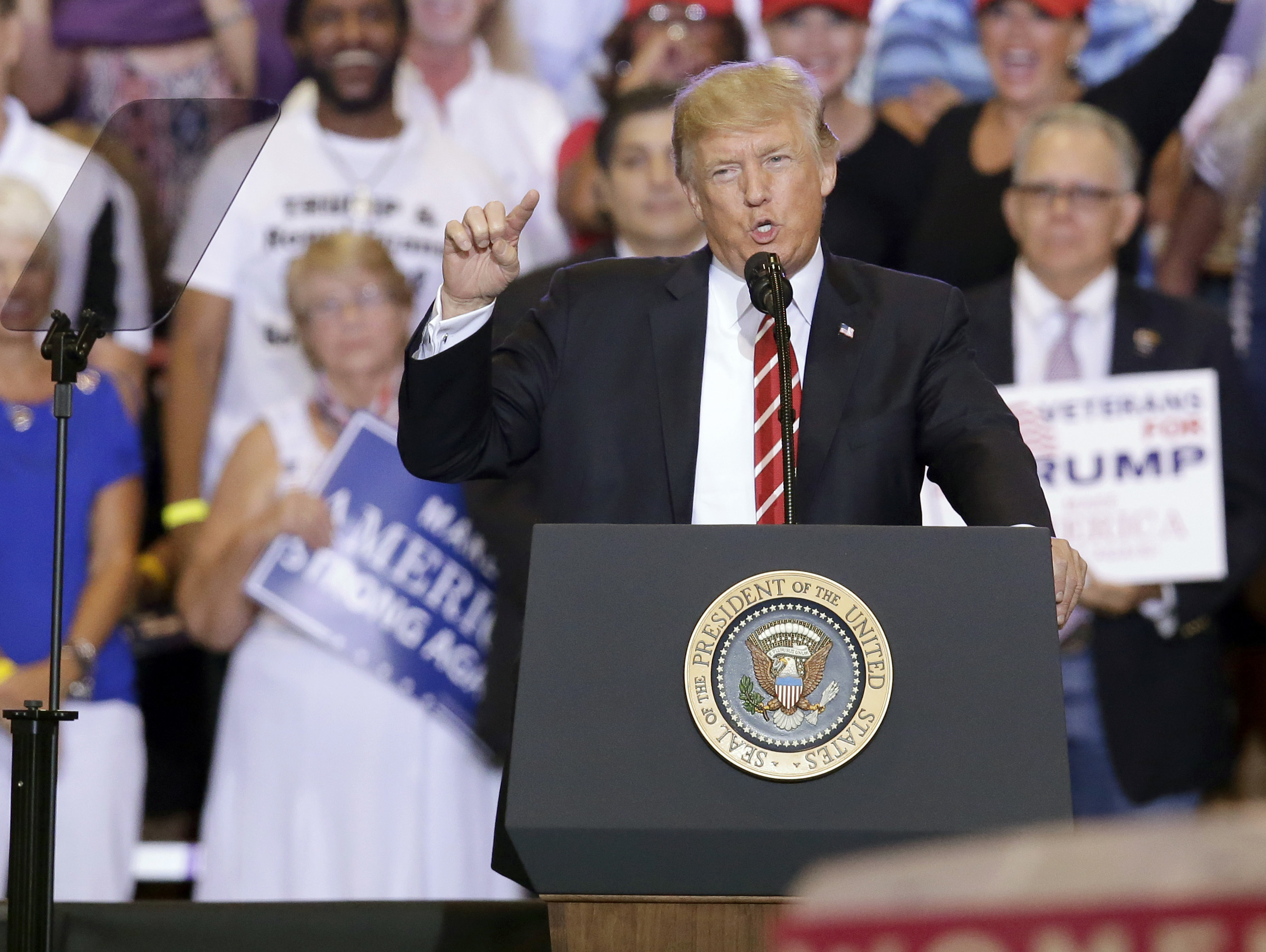 President Donald Trump at a rally at the Phoenix Convention Center on Aug. 22, 2017.