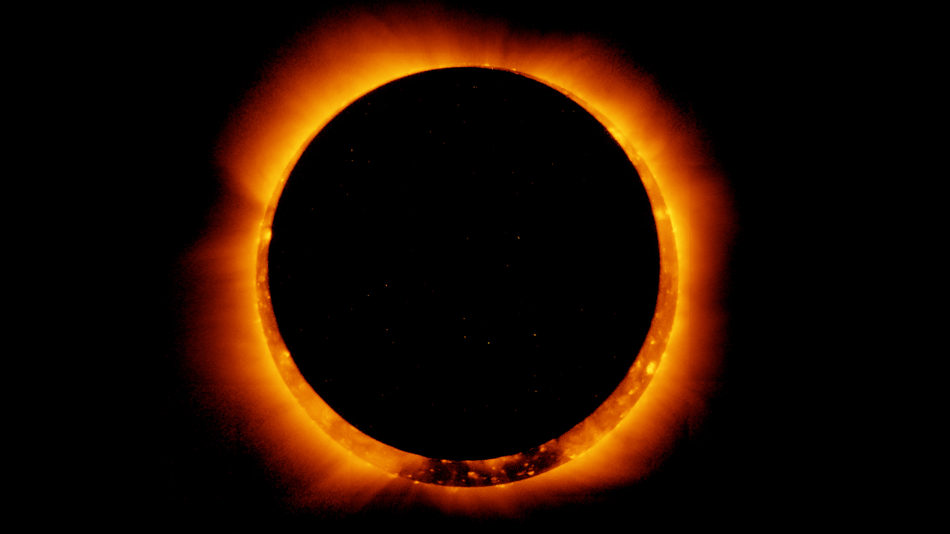 This annular solar eclipse was captured by Japan's Hinode satellite on January 4, 2011.