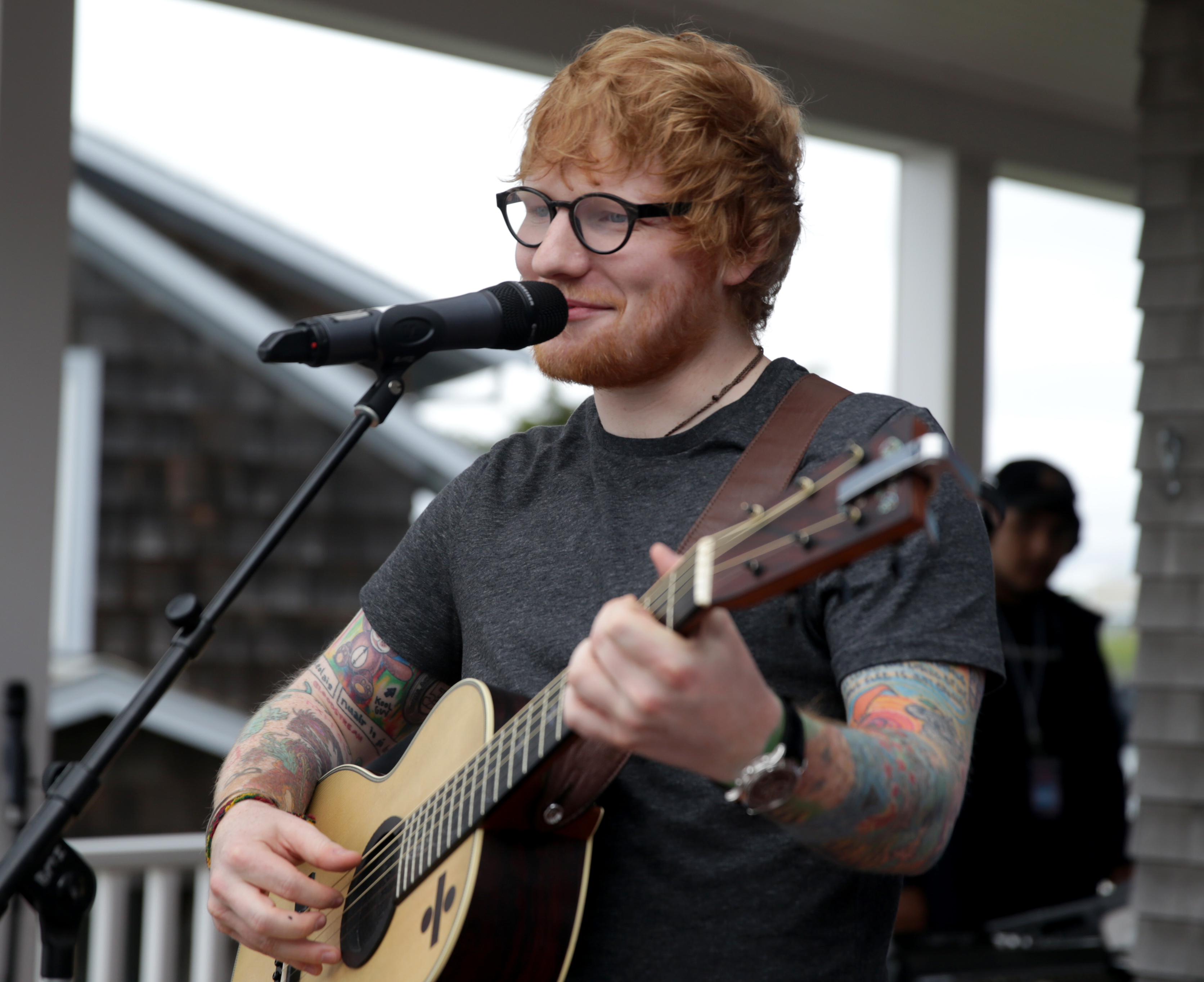 BOURNE, MA - JULY 14: Musician Ed Sheeran performs at the Mix 104.1 Beach House in Bourne, Mass., on July 14, 2017.