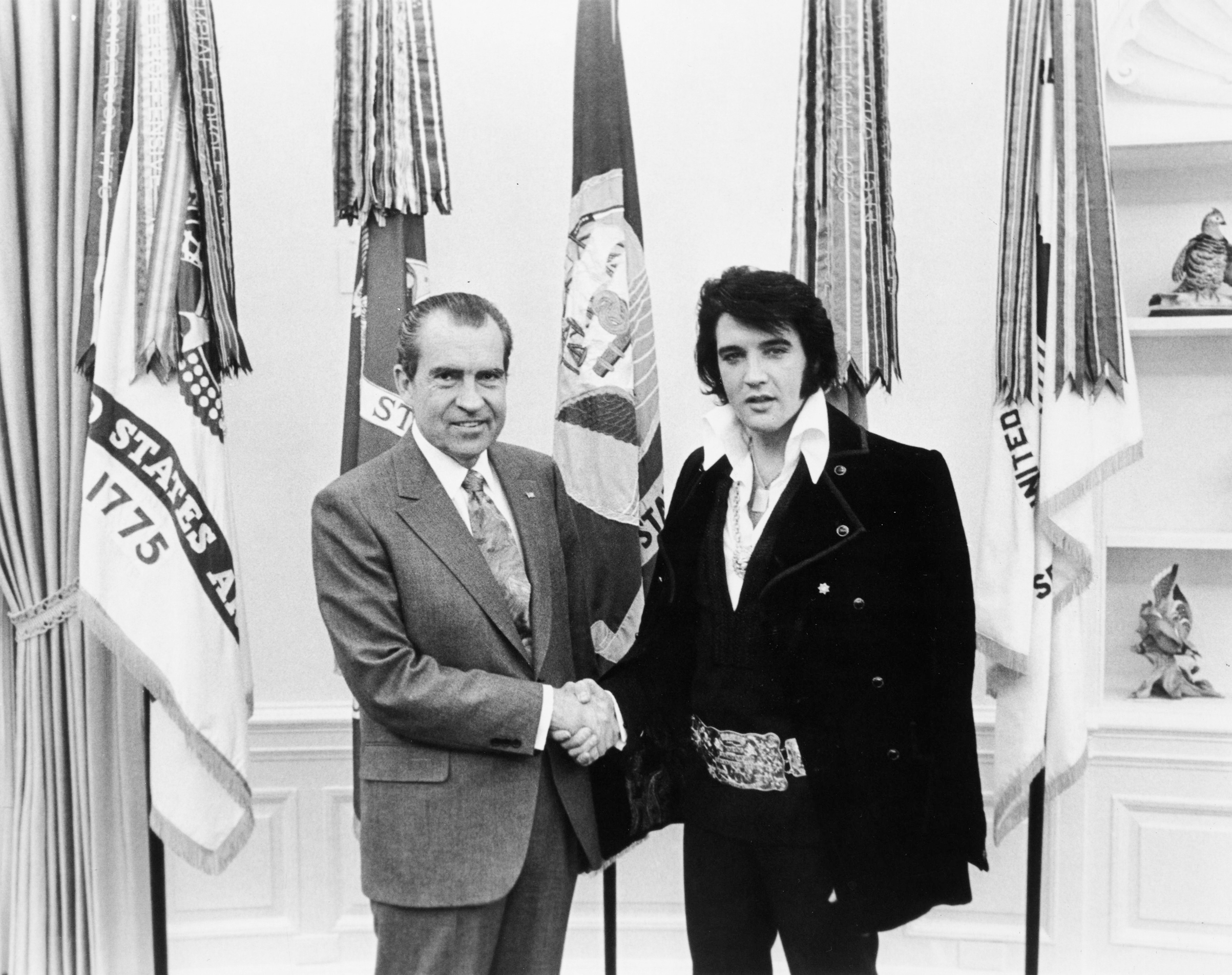 President Nixon and Elvis Presley meet at The White House, December 21, 1970.