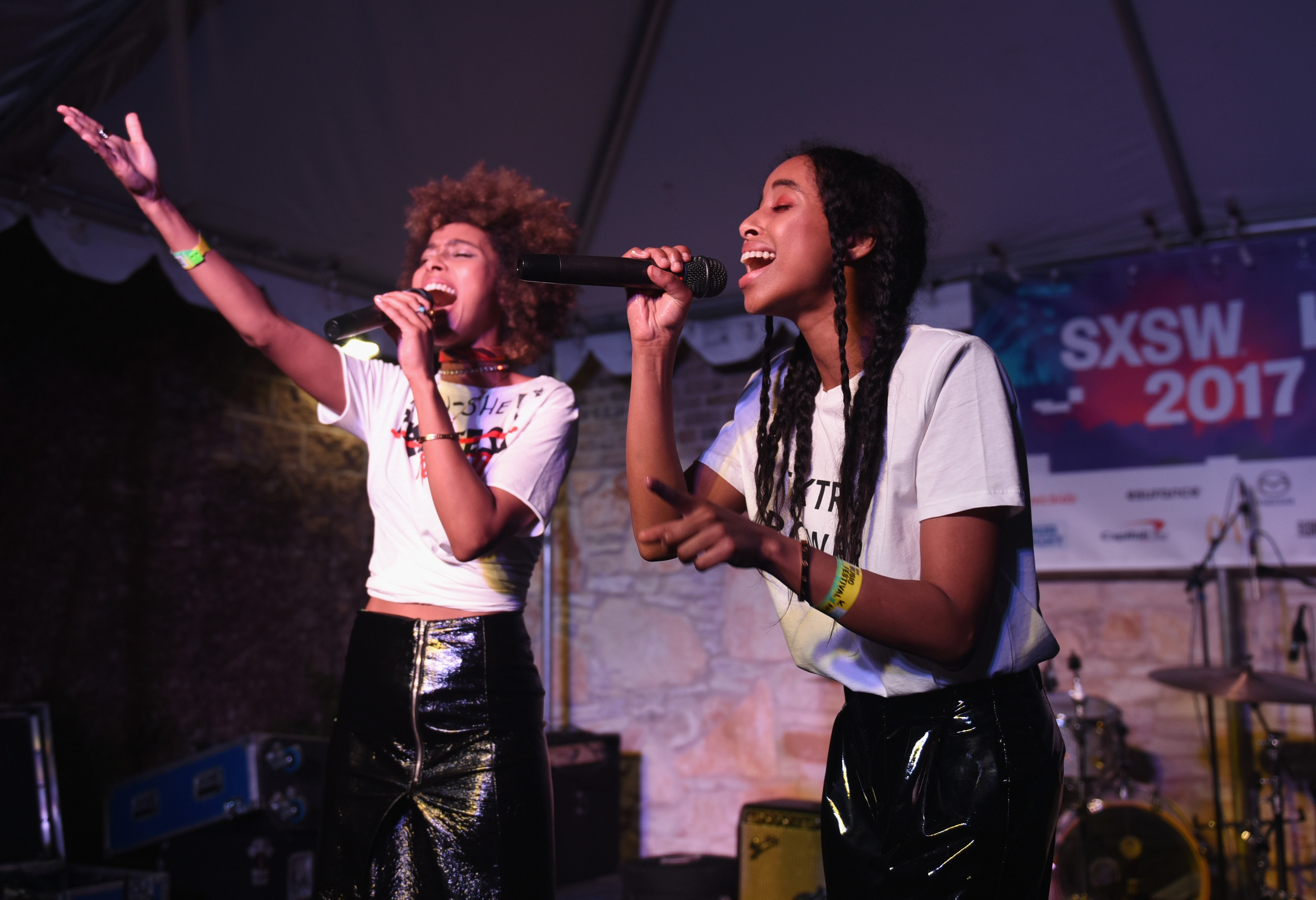 AUSTIN, TX - MARCH 17: Iman Hashi (L) and Siham Hashi of FAARROW perform onstage at ContraBanned #MusicUnites during 2017 SXSW Conference and Festivals.