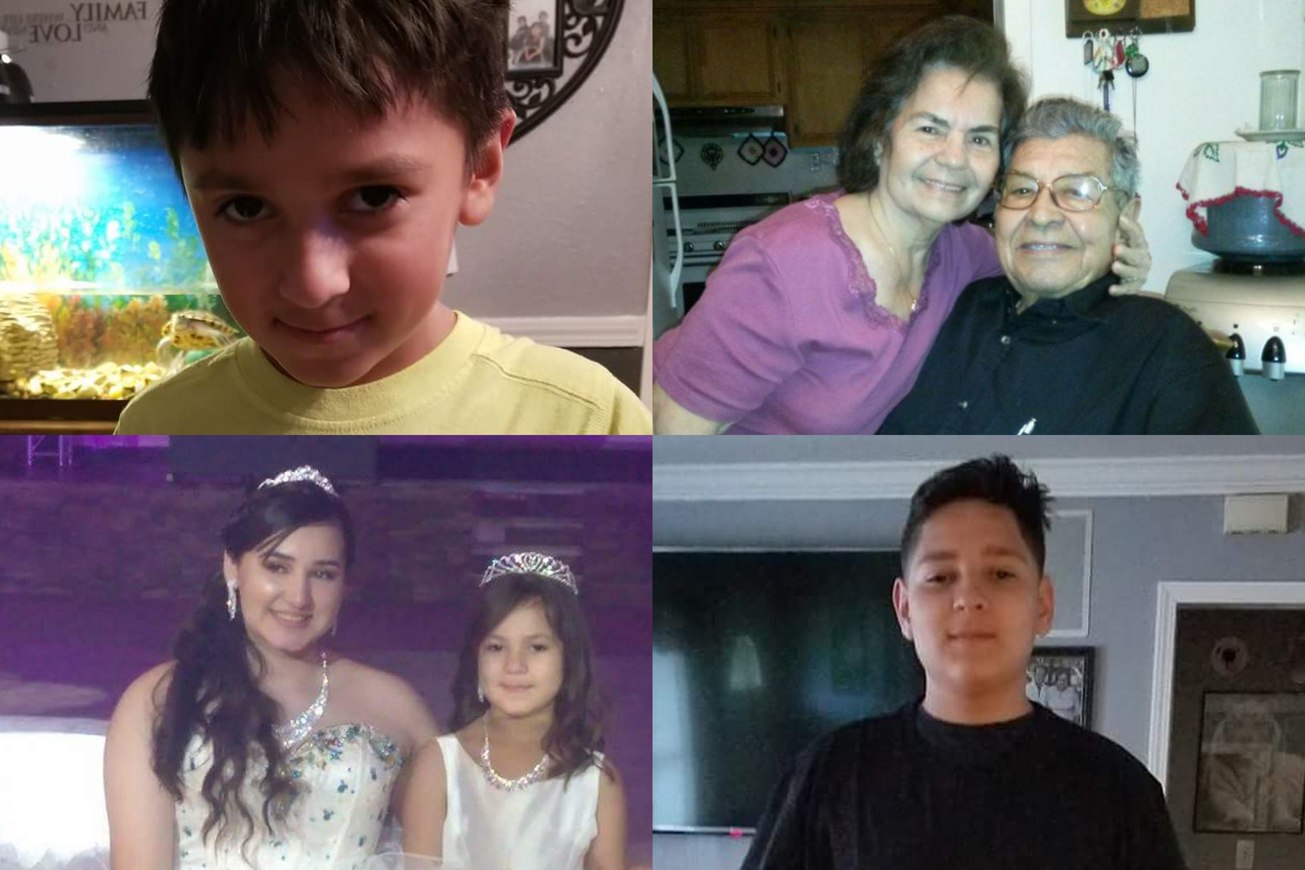 Top left: Xavier Saldivar, 8; Top right: Bedia Saldivar, 81, and Manuel Saldivar, 84; Bottom left: Devy Saldivar, 16, and Daisy Saldivar, 6; Bottom right: Domonic Saldivar, 14