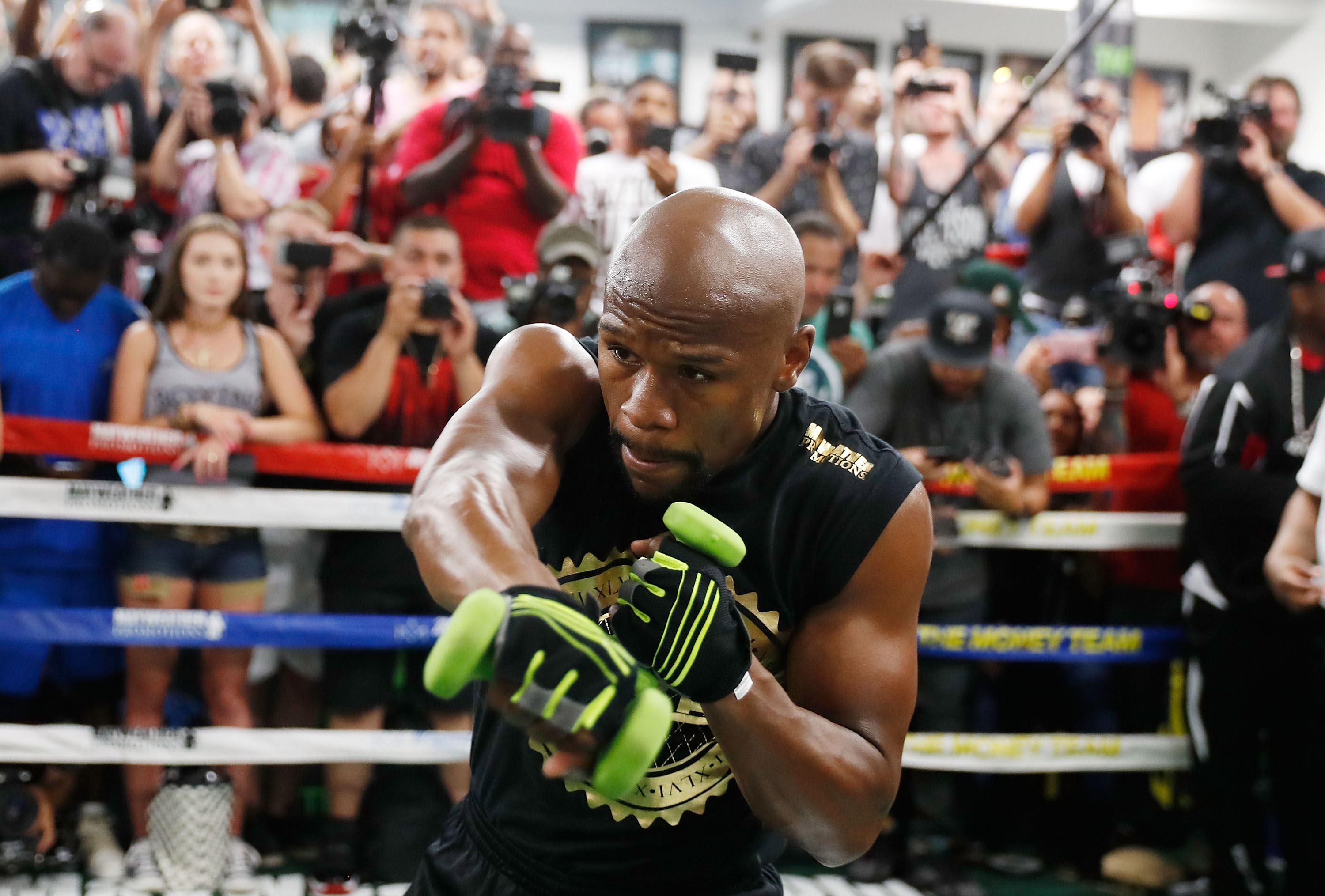 Floyd Mayweather Jr. holds a media workout at the Mayweather Boxing Club on August 10, 2017 in Las Vegas, Nevada. Mayweather will face UFC lightweight champion Conor McGregor in a boxing match at T-Mobile Arena on August 26 in Las Vegas.