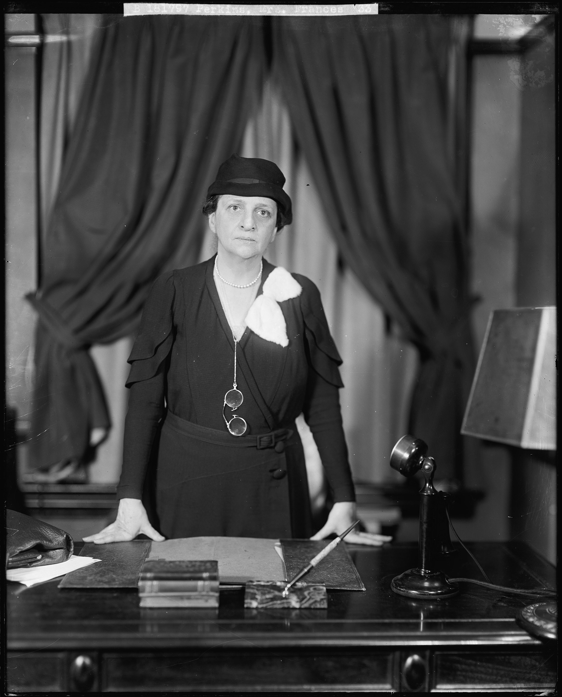 FRANCES PERKINS became the first female member of a presidential cabinet as FDR's Secretary of Labor in 1933.