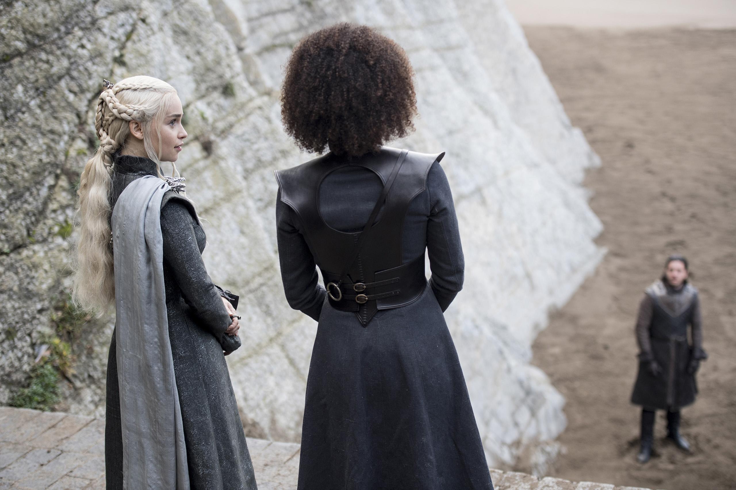 Emilia Clarke, Nathalie Emmanuel and Kit Harington in Game of Thrones