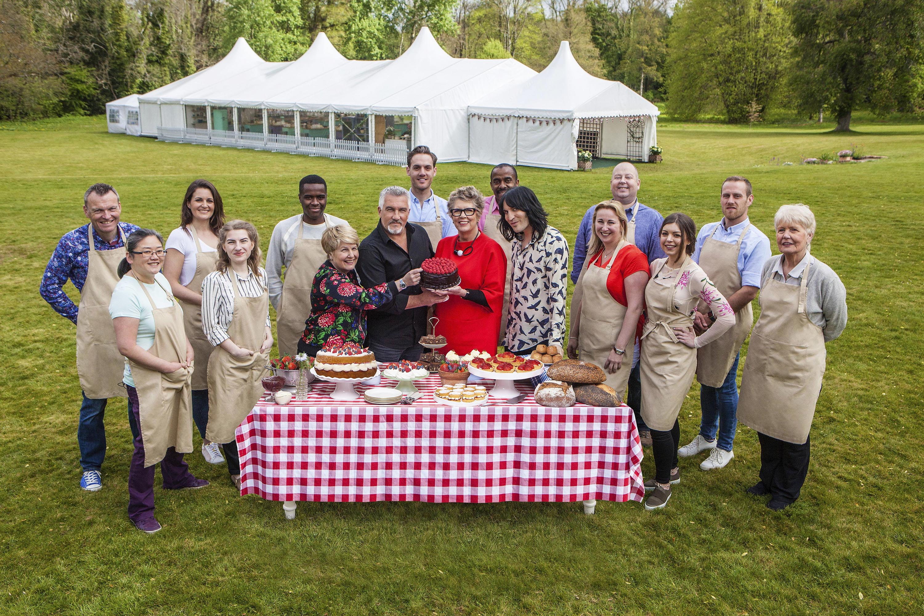 Sandi Toksvig, Paul Hollywood, Prue Leith and Noel Fielding with this year's Bakers.
