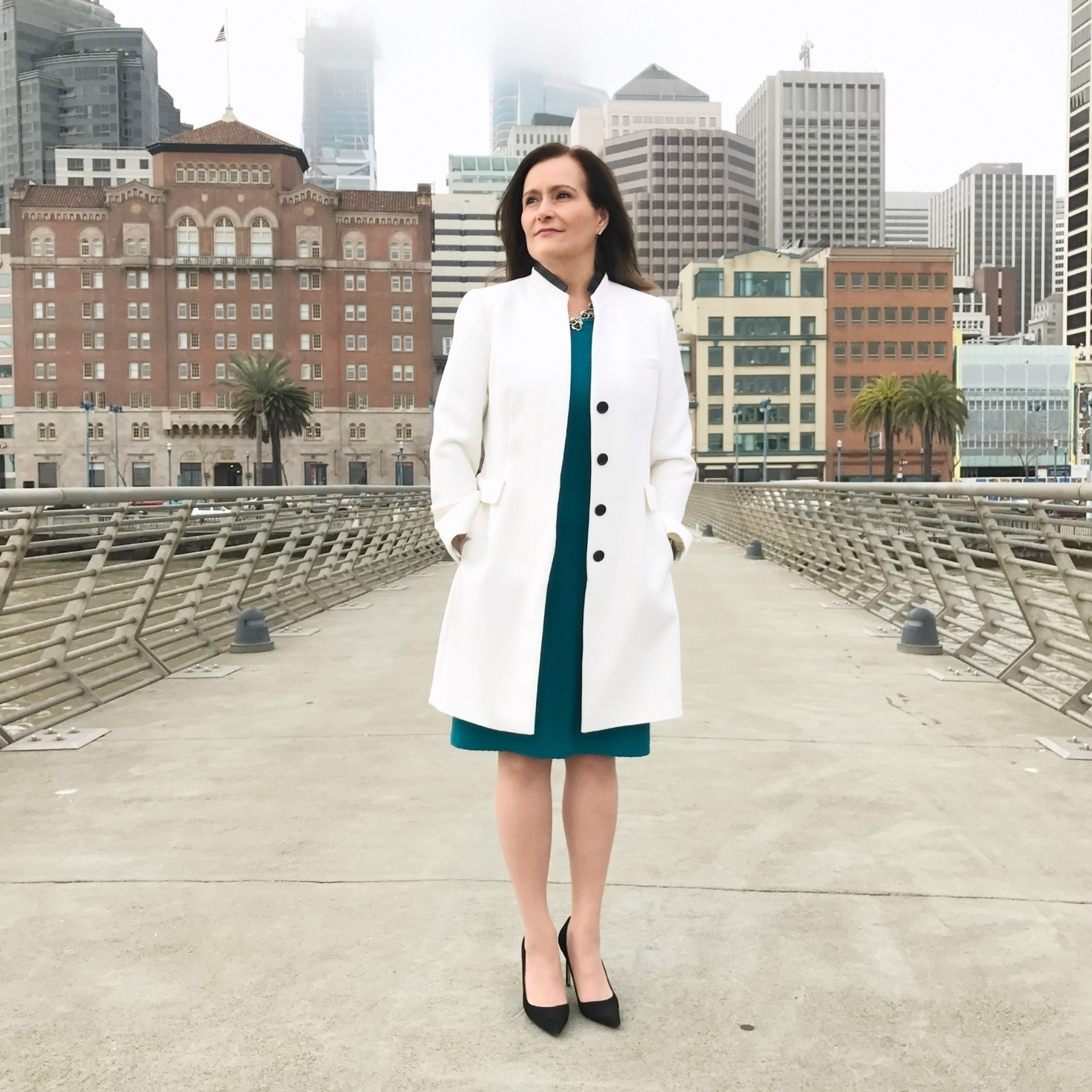 Portrait of Geisha Williams, photographed on a bridge near the Pacific Gas and Electric Company in San Francisco on February 13, 2017.