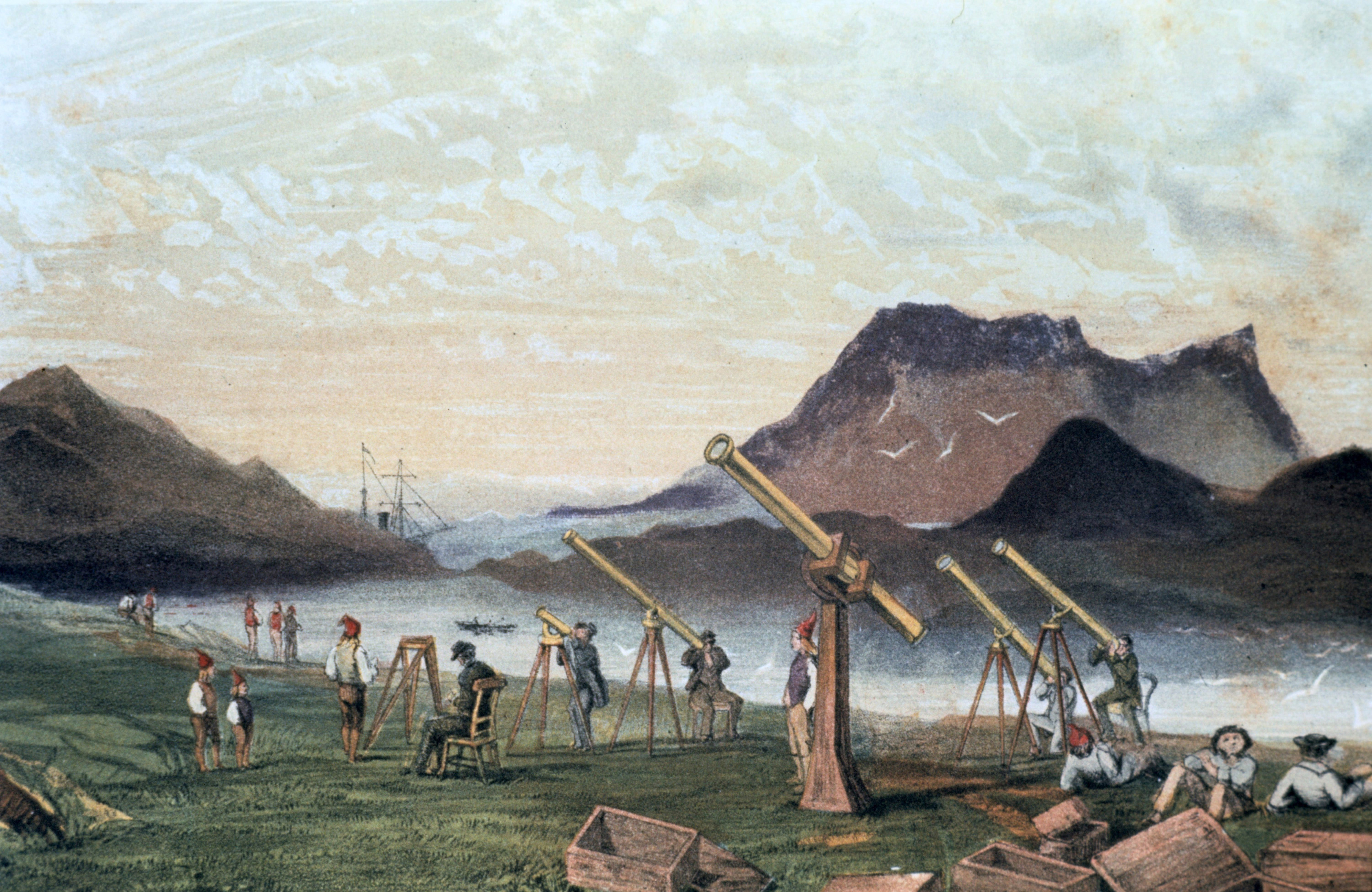 Total Solar Eclipse, 1851. Members of the Edinburgh expedition on Bue Island, Norway with their instruments set up ready for viewing the eclipse , 28 July 1851. Members of the crew from their transport vessel are seated on right by empty packing cases. From Astronomical Observations made at the Royal Observatory, Edinburgh.