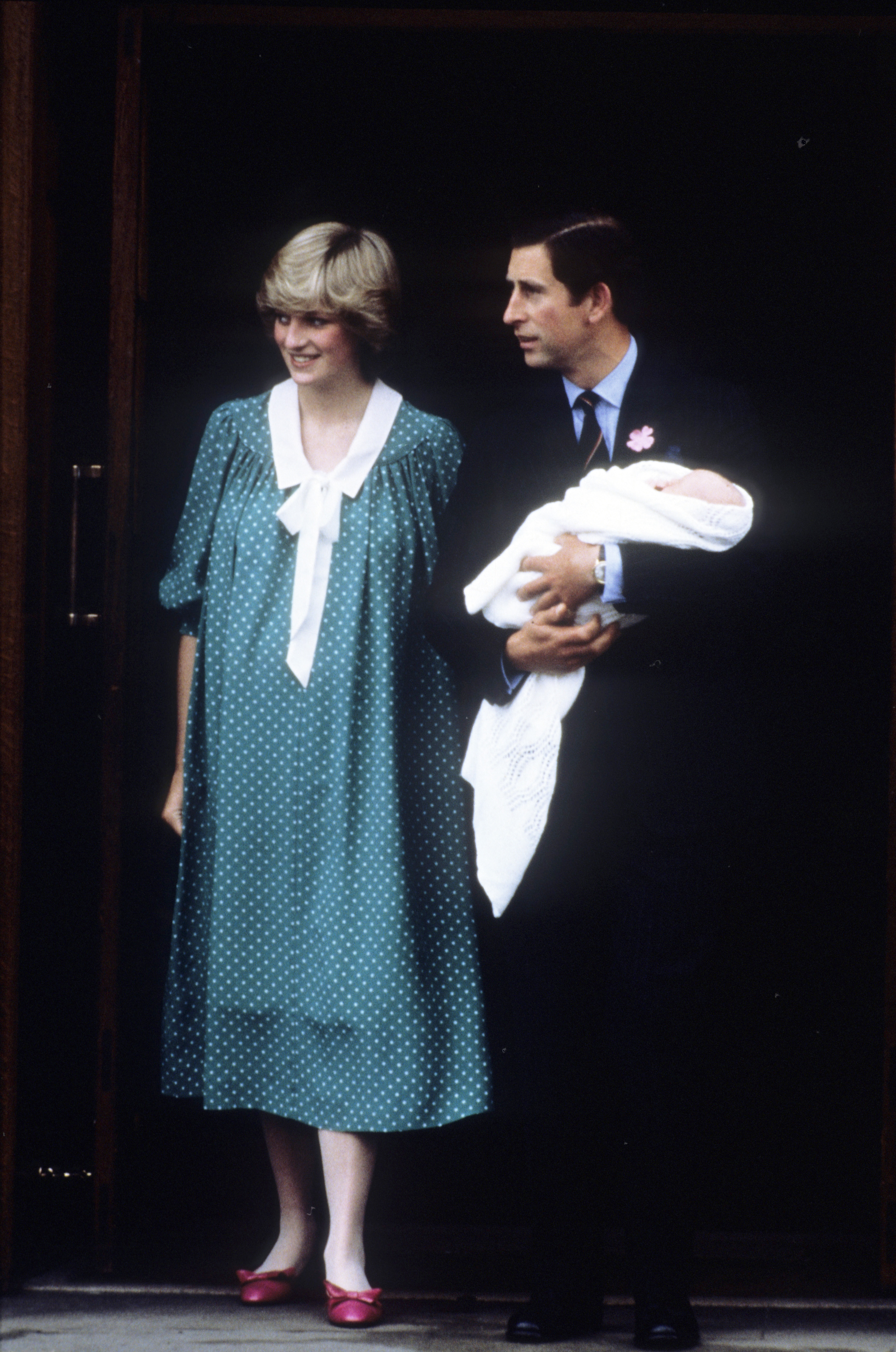 After giving birth to Prince William on June 22, 1982, Diana exited the hospital wearing a playful polka dotted shift dress.