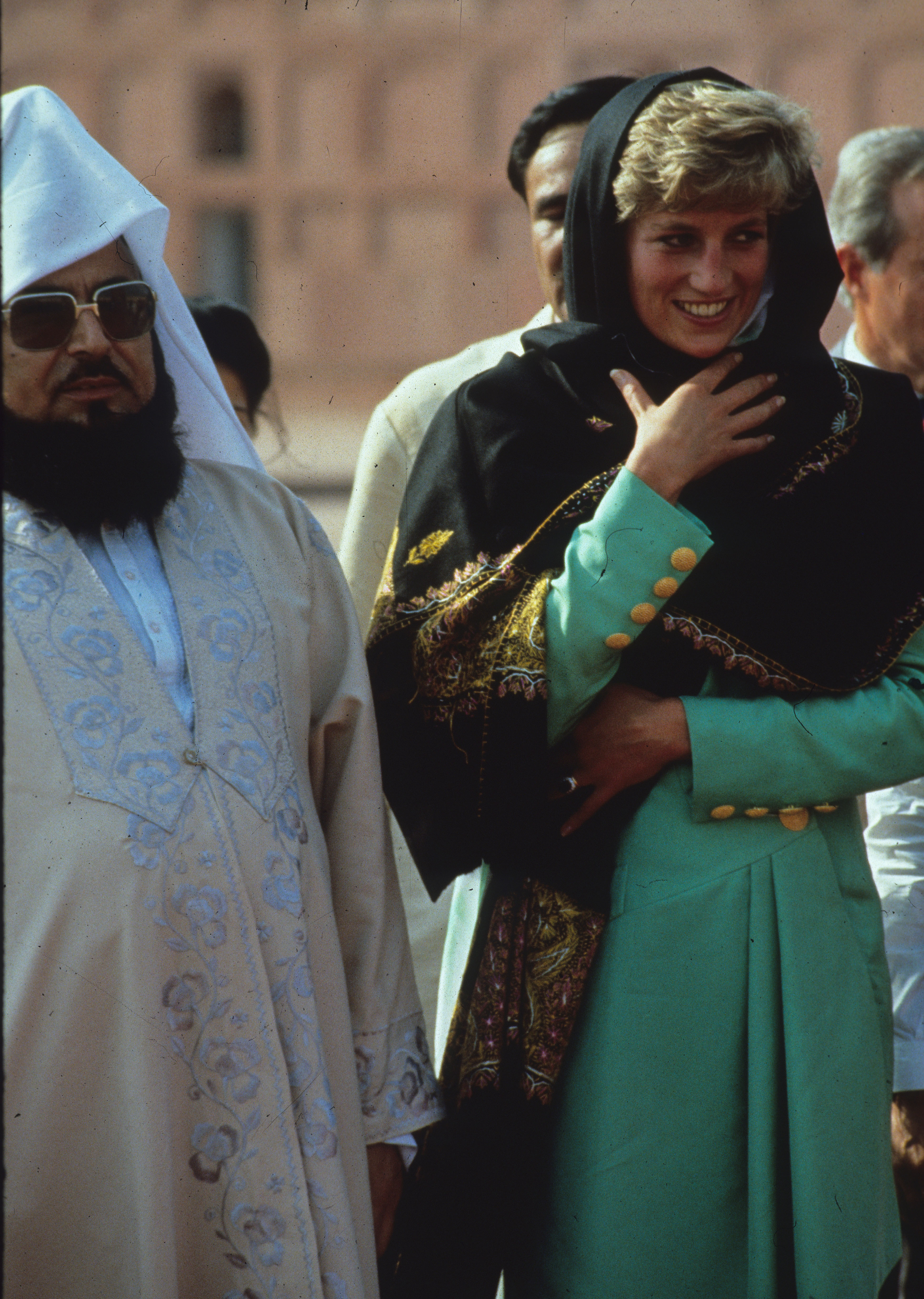 Diana modestly covered her head during a visit to the Badshahi Mosque in Pakistan in 1991.