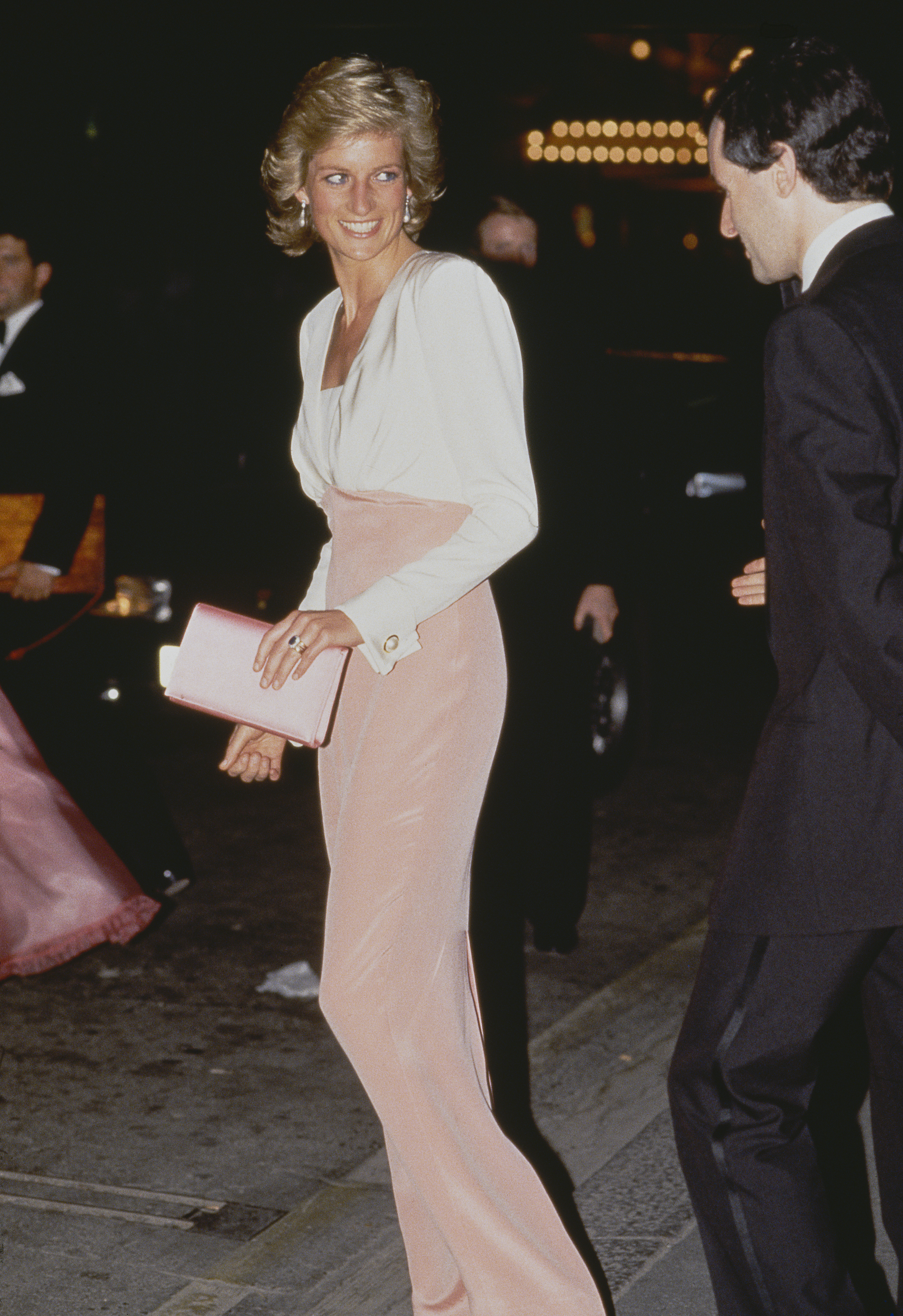 Di's chose a sleek silhouette with this two-toned gown while attending the ballet in 1989.