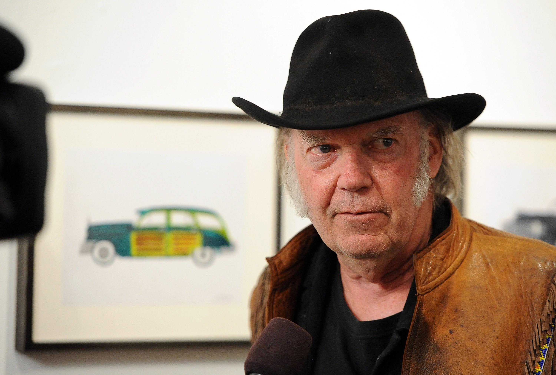 Neil Young at Robert Berman Gallery in Santa Monica, Calif. on Nov. 3, 2014.