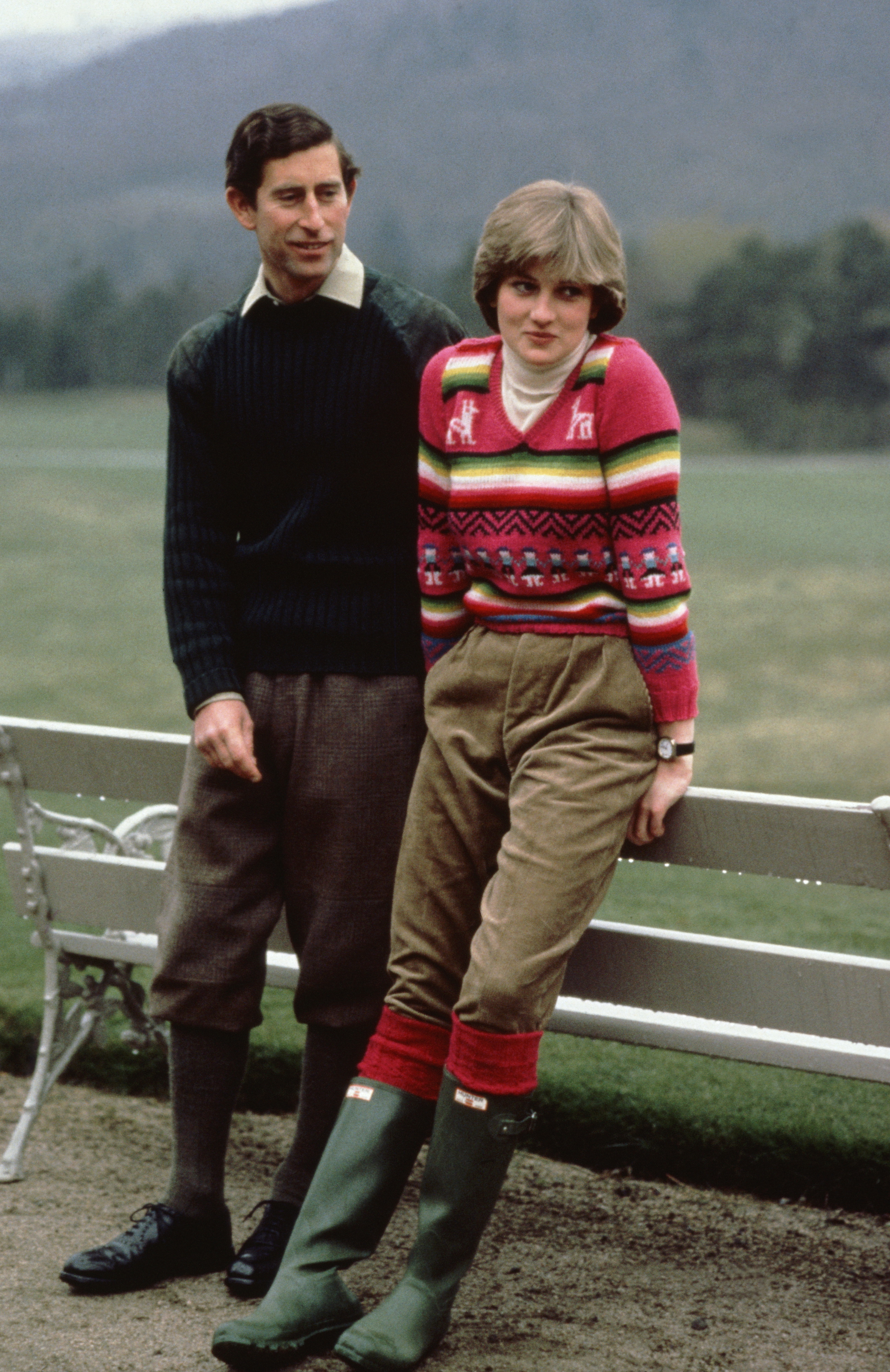 Ahead of her wedding, Diana went casual with a cozy sweater and a pair of classic Wellie boots while at the British royal family's holiday home, Balmoral Castle, in Scotland.