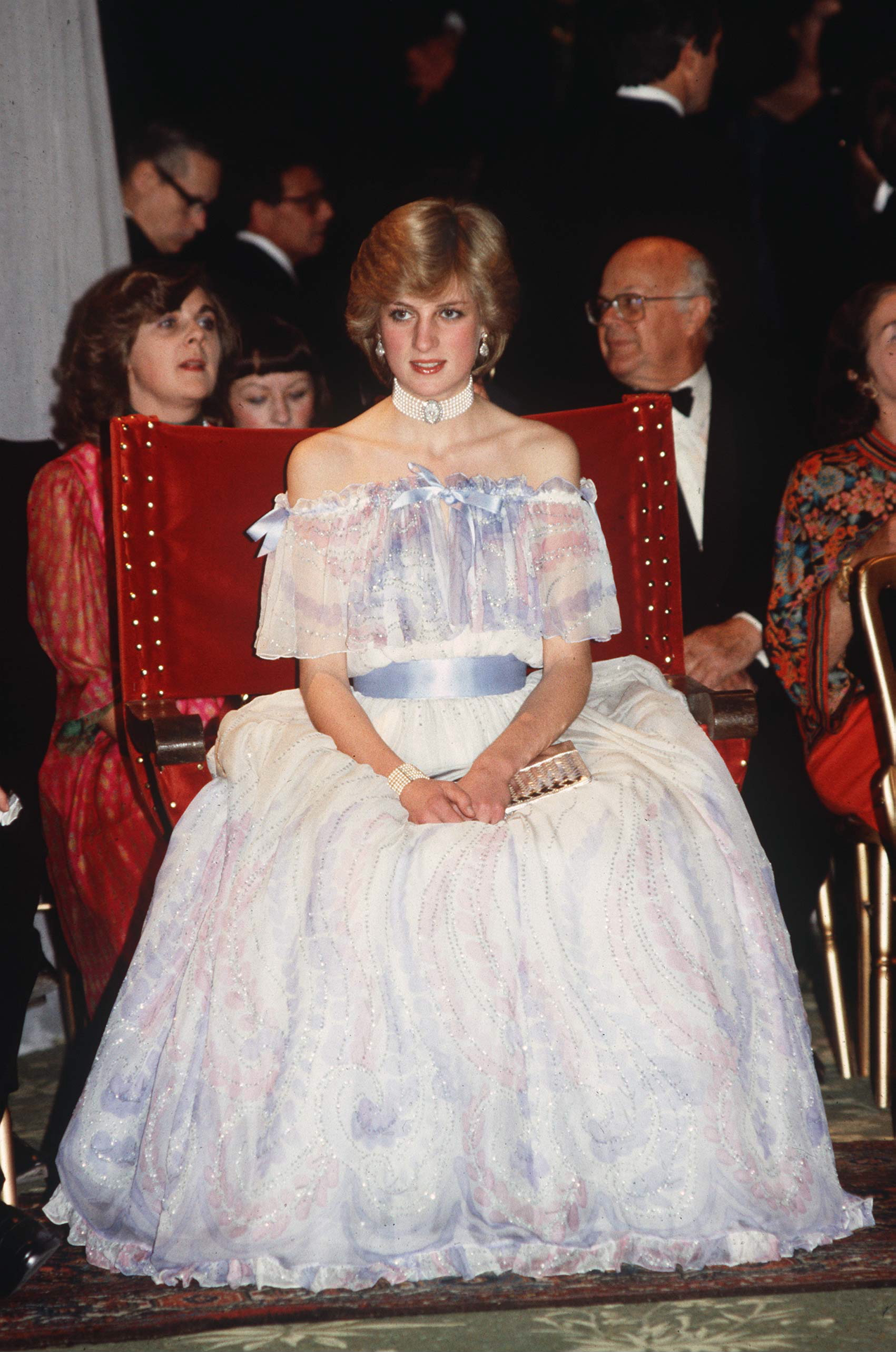 At an exhibit opening at the Victoria And Albert Museum, Diana wore a Bellville Sassoon gown; she famously fell asleep while sitting up at this event, adding to public speculation that the princess was expecting. It was later revealed that she was pregnant with Prince William at the time.
