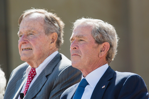 Former President George W Bush with his father former President George H.W. Bush at the dedication of the George W. Bush presidential library on the campus of Southern Methodist University in Dallas.
