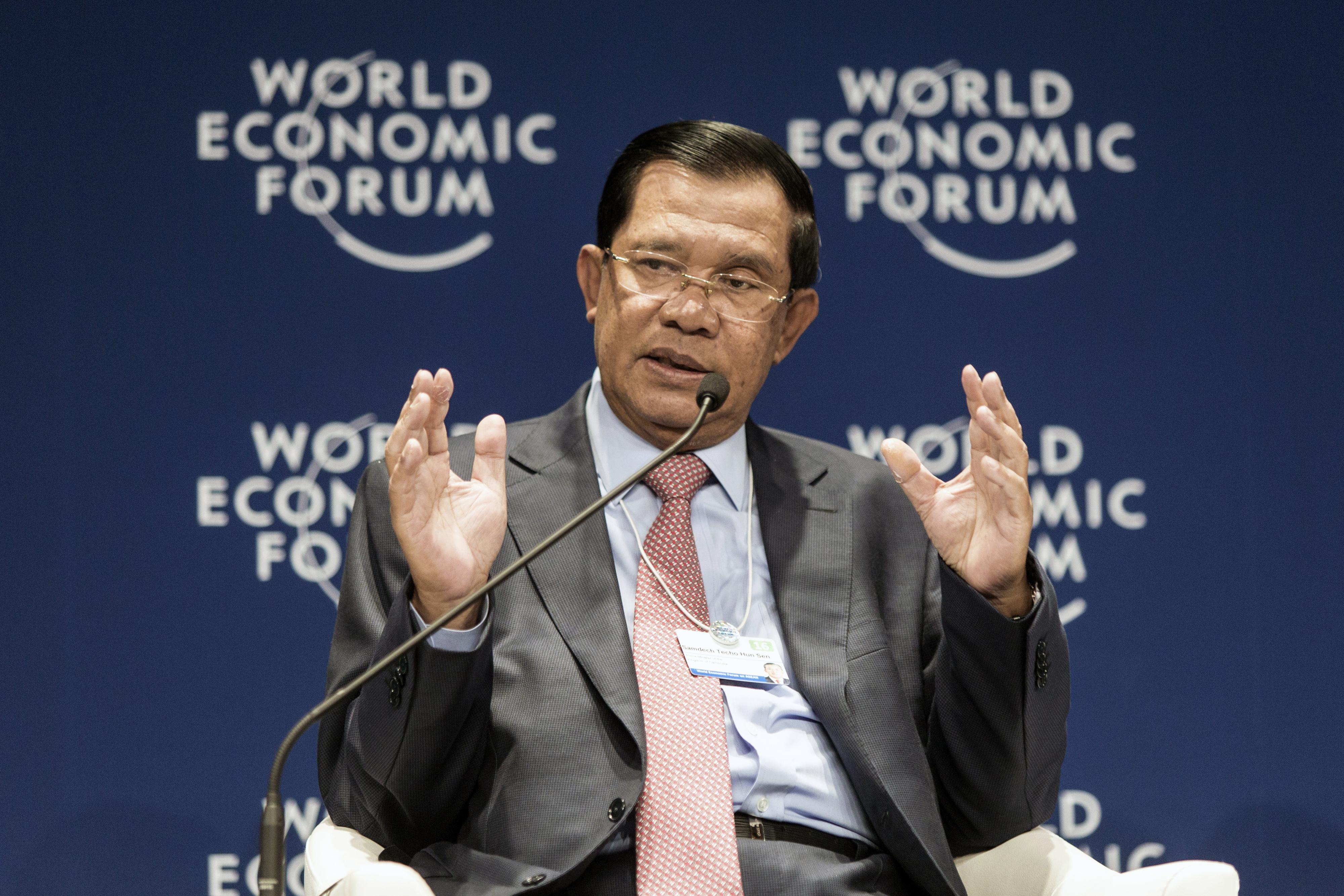 Hun Sen, Cambodia's prime minister, during the World Economic Forum in Kuala Lumpur, Malaysia, on June 1, 2016.