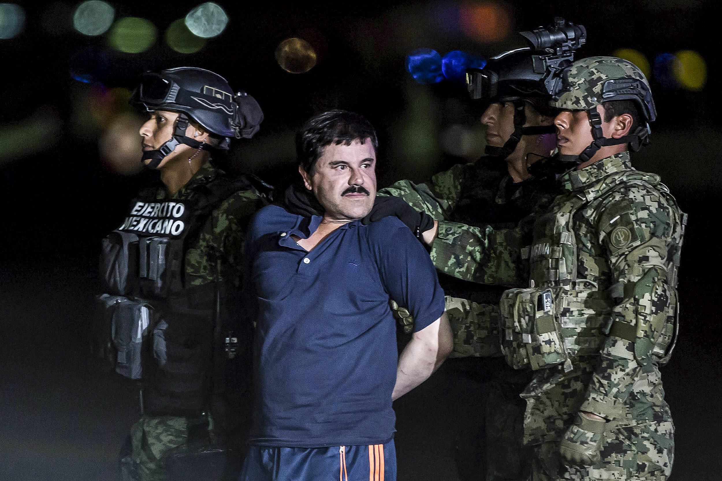 El Chapo is transported to maximum security prison in Mexico City on Jan. 8, 2016.