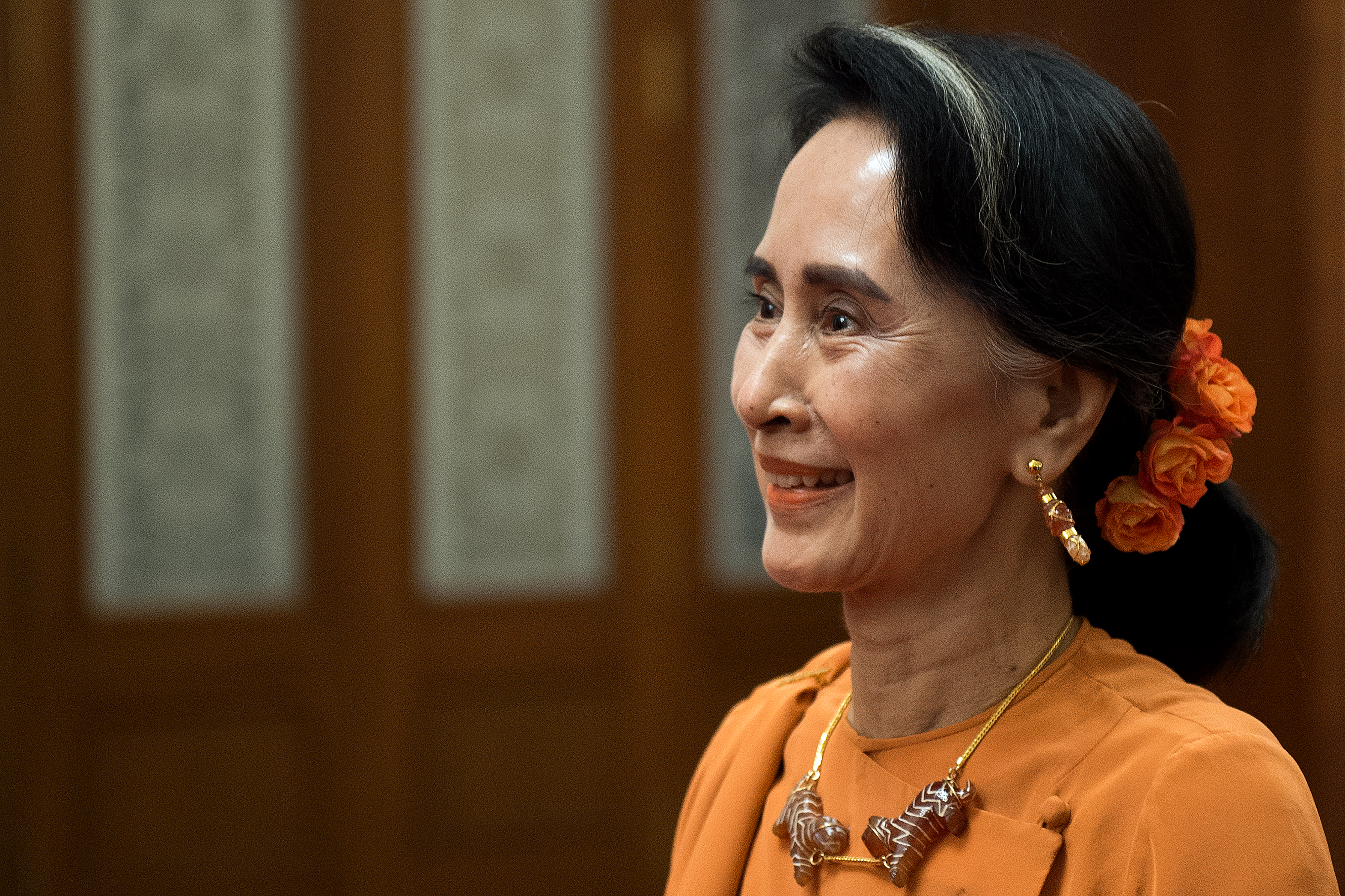 Myanmar State Counsellor Aung San Suu Kyi smiles at the Great Hall of the People on May 16, 2017 in Beijing, China.