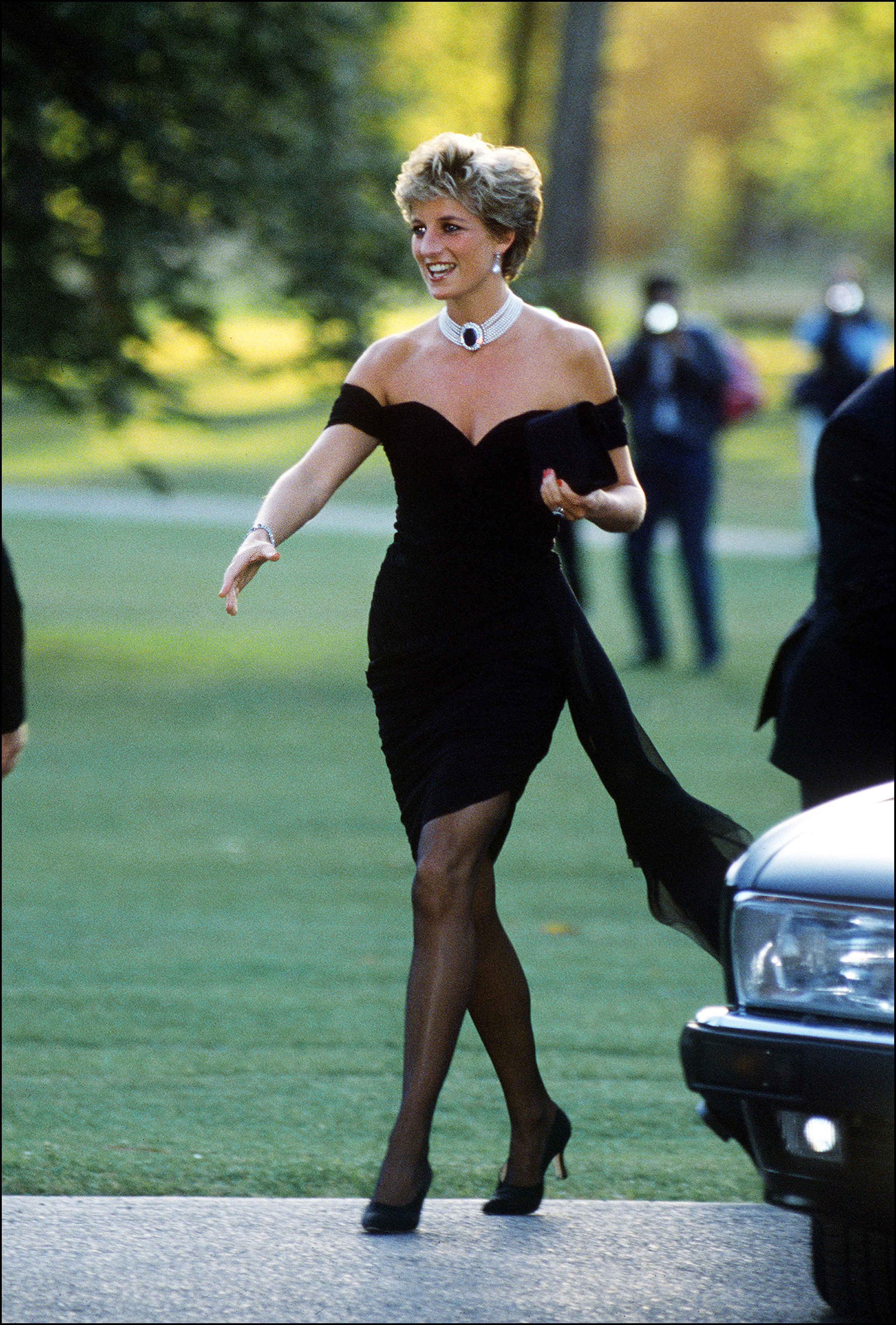 Call it the dress seen 'round the world —                                amid reports of Prince Charles' infidelity in June 1994, Diana sported a body-conscious little black dress by Christina Stambolian.