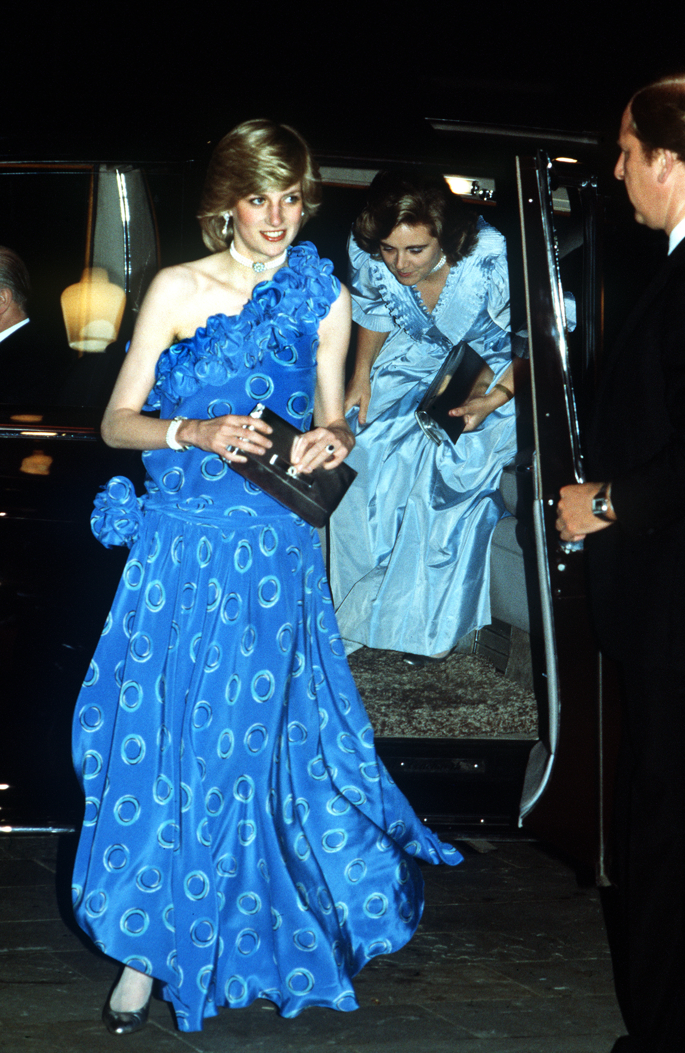 Diana's bright blue, drop-waist Bruce Oldfield dress worn to a fashion show in November 1982 caused plenty of buzz because it showed off how slender the princess had become, less than a year after giving birth to Prince William. She later revealed that she had suffered from eating disorders during the early days of her marriage to Prince Charles.