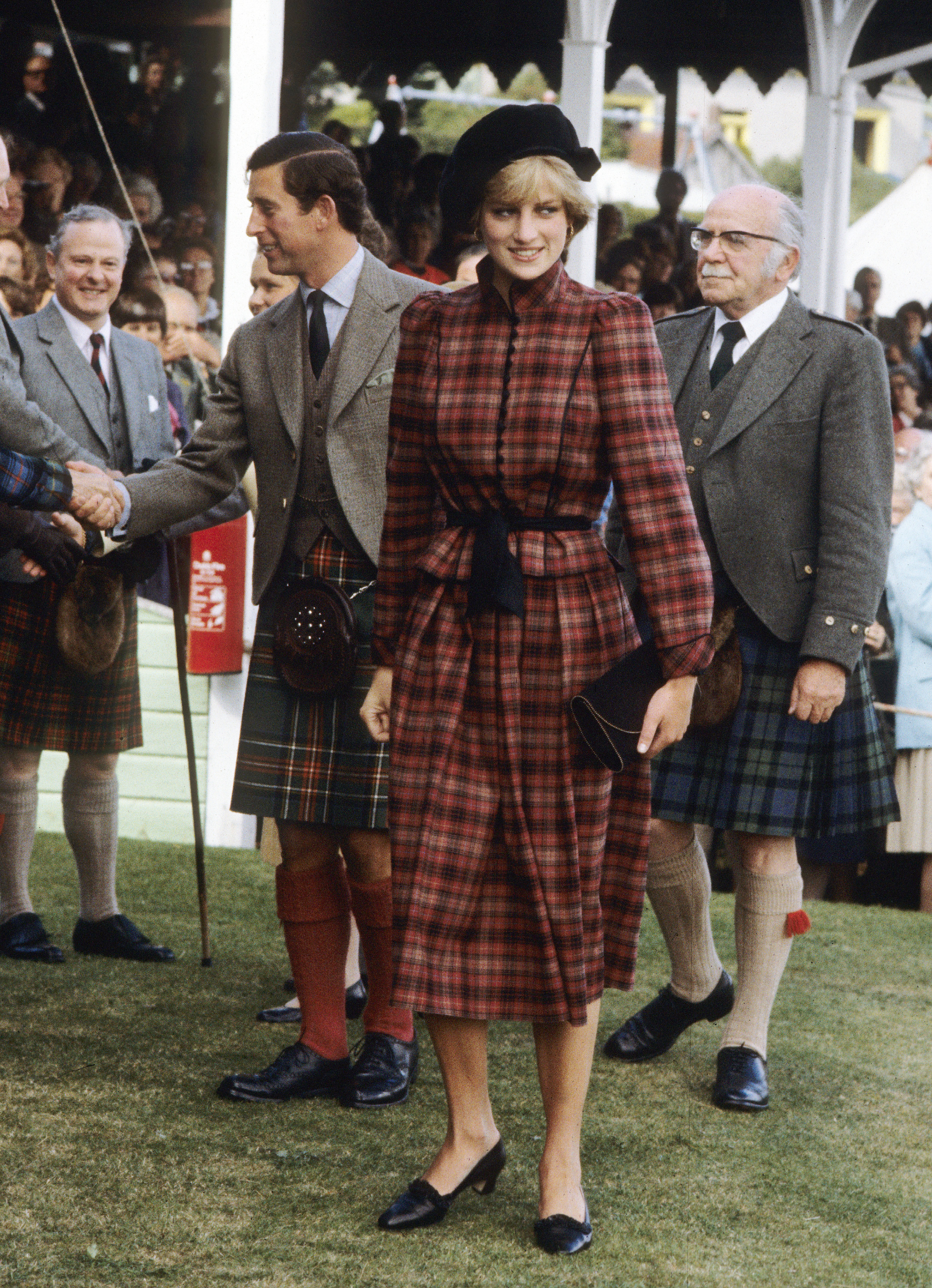 For the Braemar Games in September 1981, Diana sported a tartan outfit by Caroline Charles.