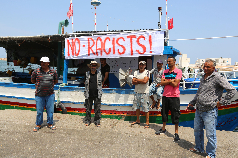 Tunisian fishermen gather in Zarzis, Tunisia on Aug. 6, 2017.