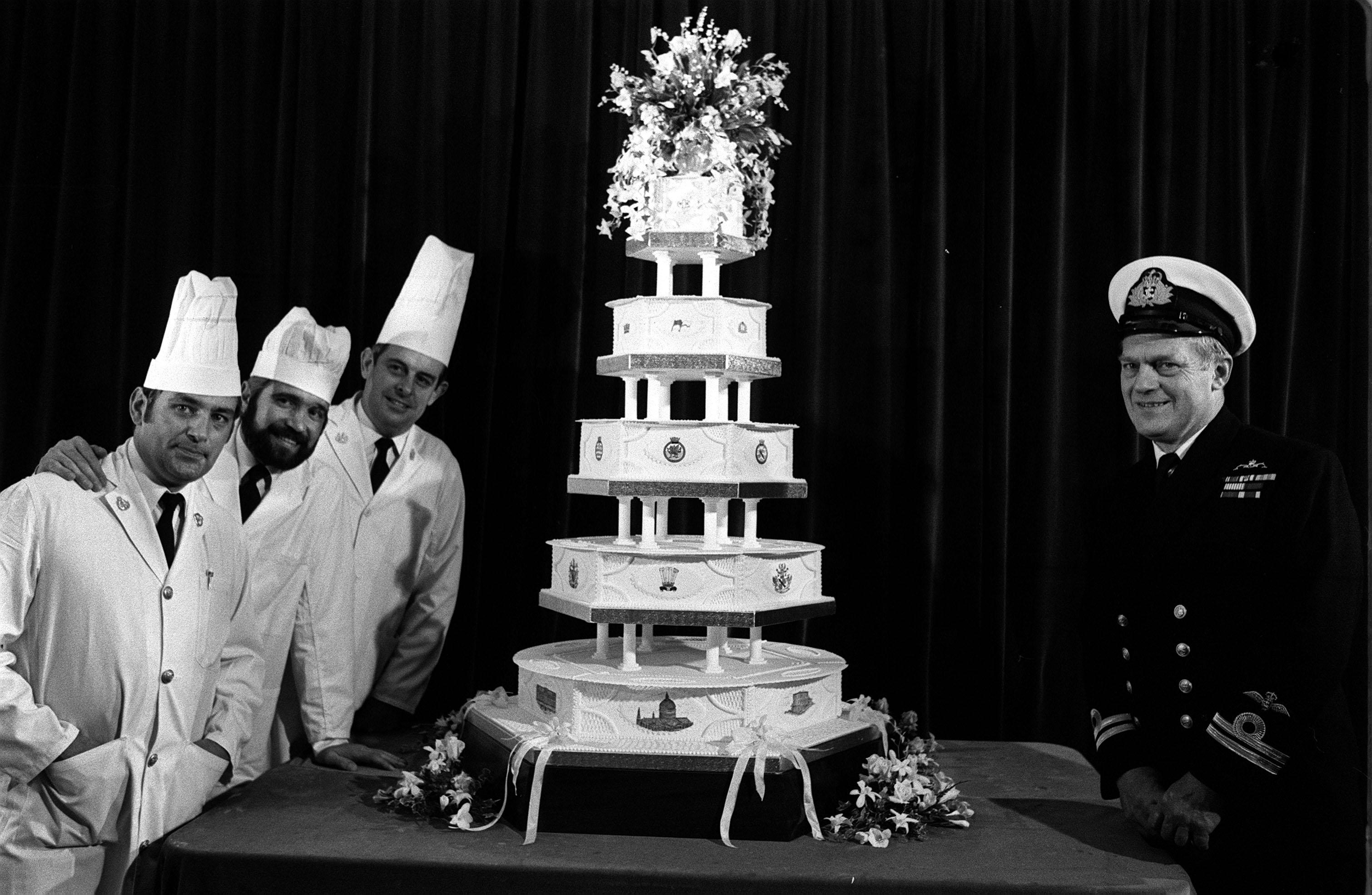 The official royal wedding cake for Diana Spencer and Prince Charles made by the Royal Navy's Cookery School 5 ft high and 255 ilbs hms Pembroke in Chatham