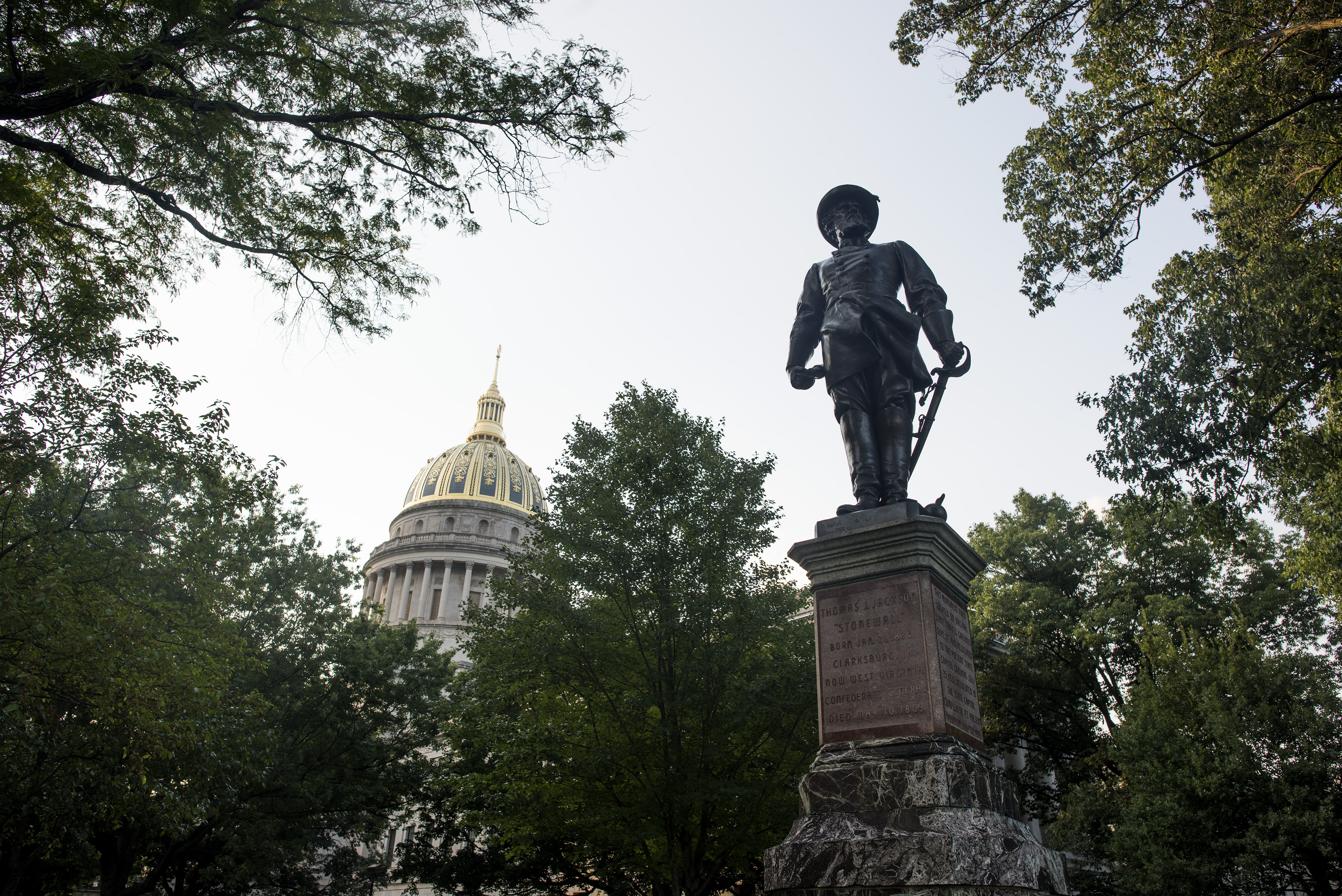 The statue of Confederate General Thomas Stonewall Jackson stands at the West Virginia State Capitol Complex on August 16, 2017 in Charleston, West Virginia.