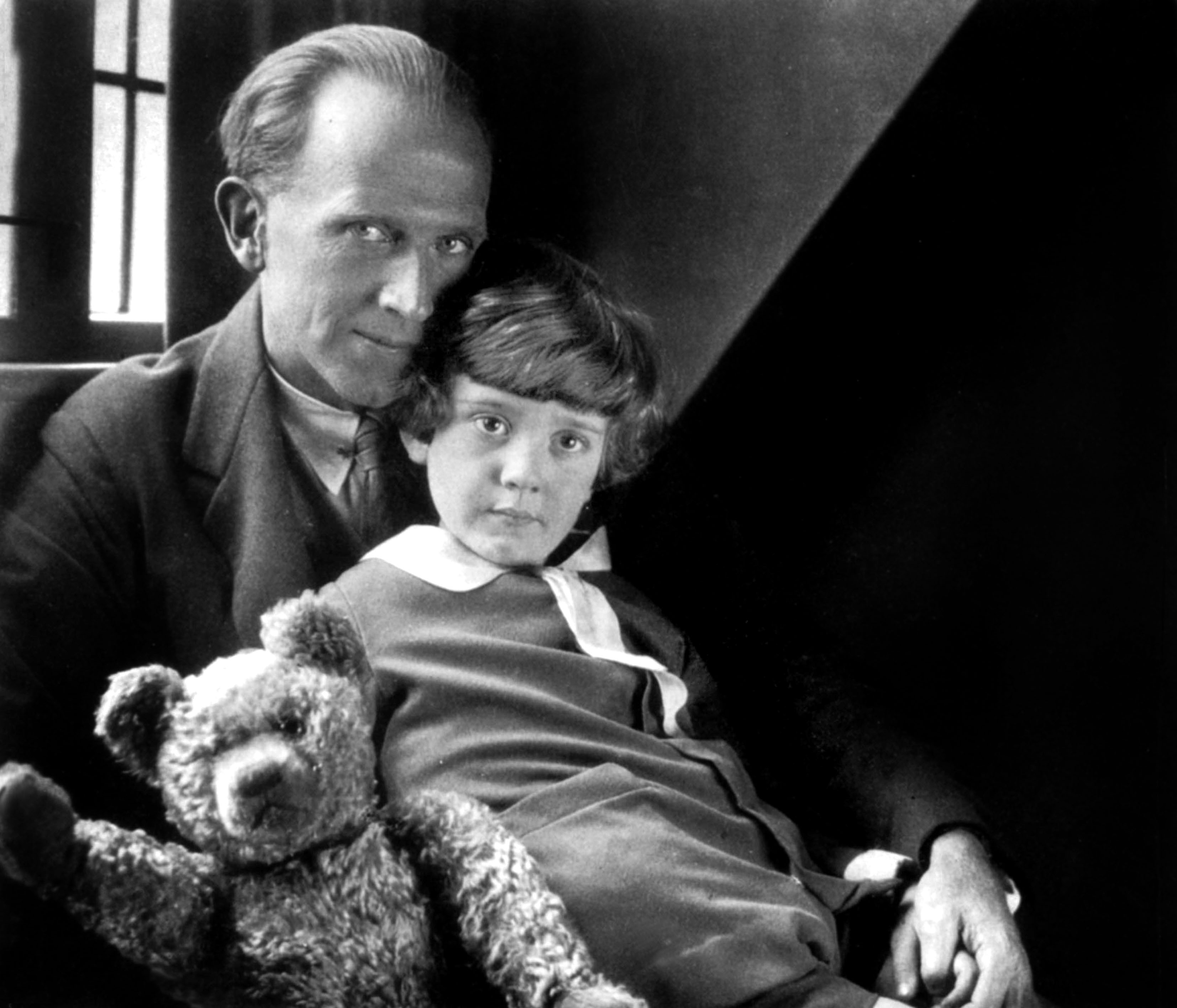 A.A. Milne, author of the story Winnie the Pooh, with his son Christopher Robin.