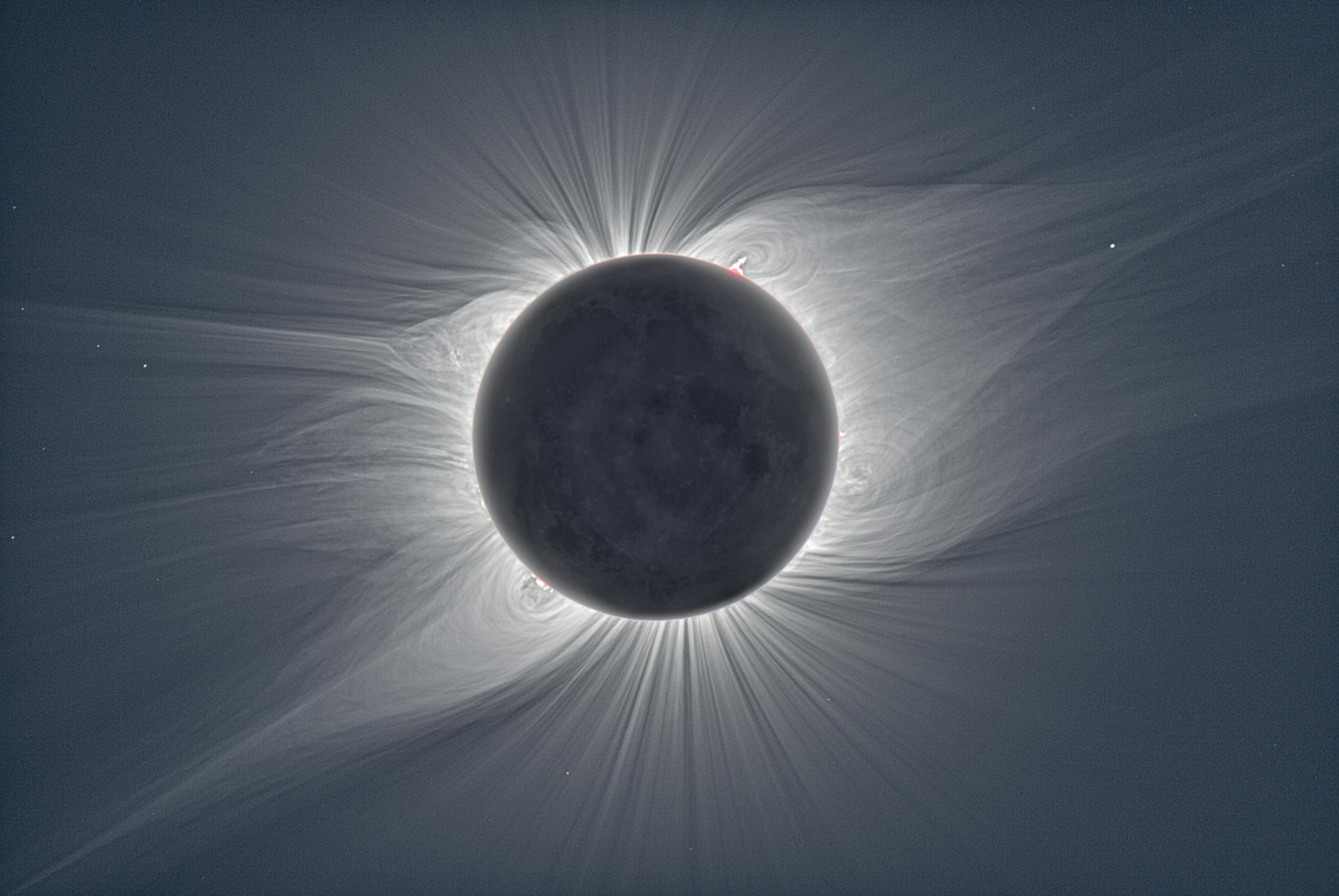 A total Solar Eclipse photographed in 2008. This composite combines hundreds of images showing exactly what the human eye would see if it was possible to remove the blinding glare caused by the heavenly event.