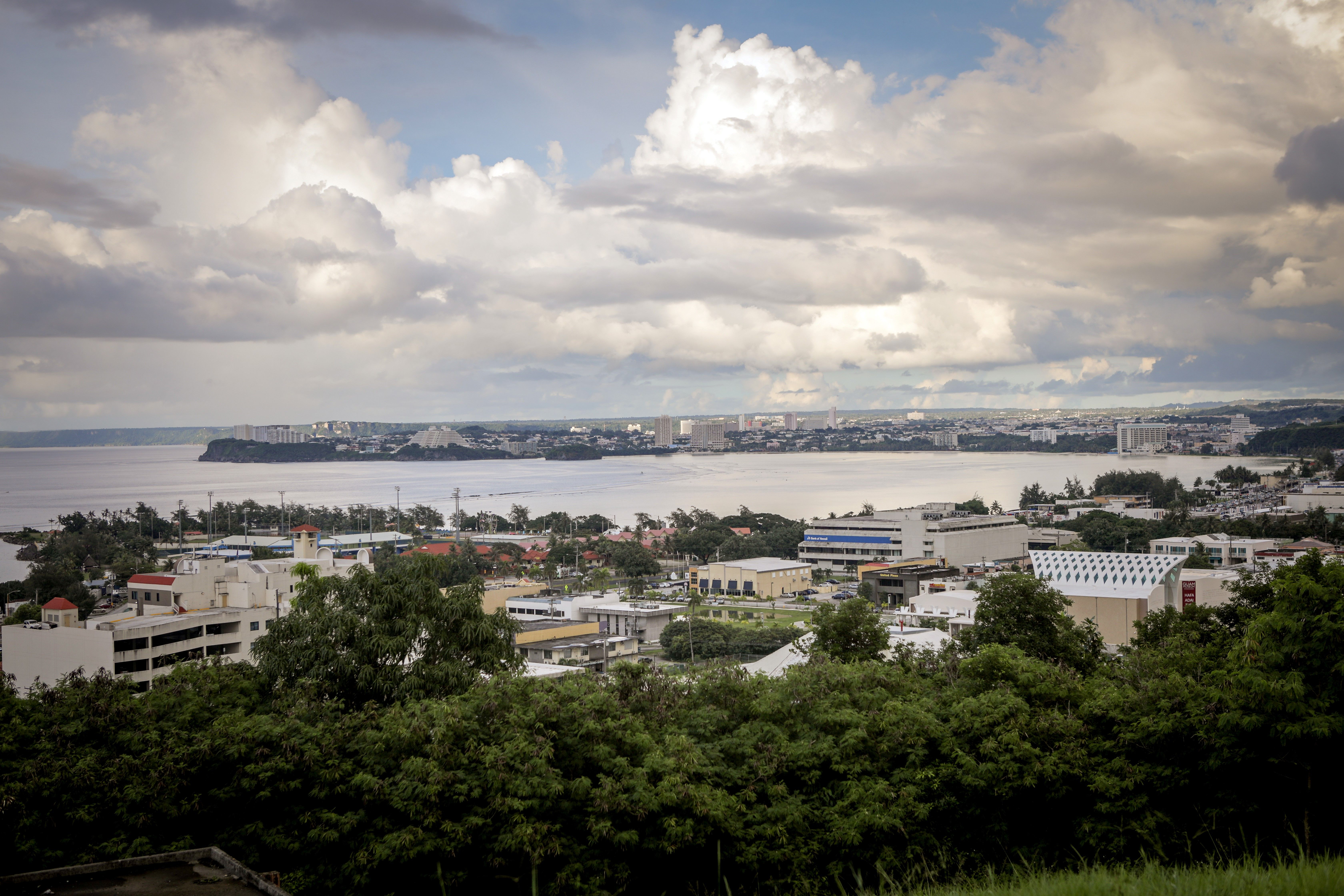 This general view shows the city of Tamuning on the island of Guam on Aug. 10, 2017.                     Guam's governor on Aug. 10 said the US territory was  well-equipped  to handle any North Korean strike thanks to robust infrastructure that had survived earthquakes and typhoons, after Pyongyang released a detailed plan to launch missiles towards the island.