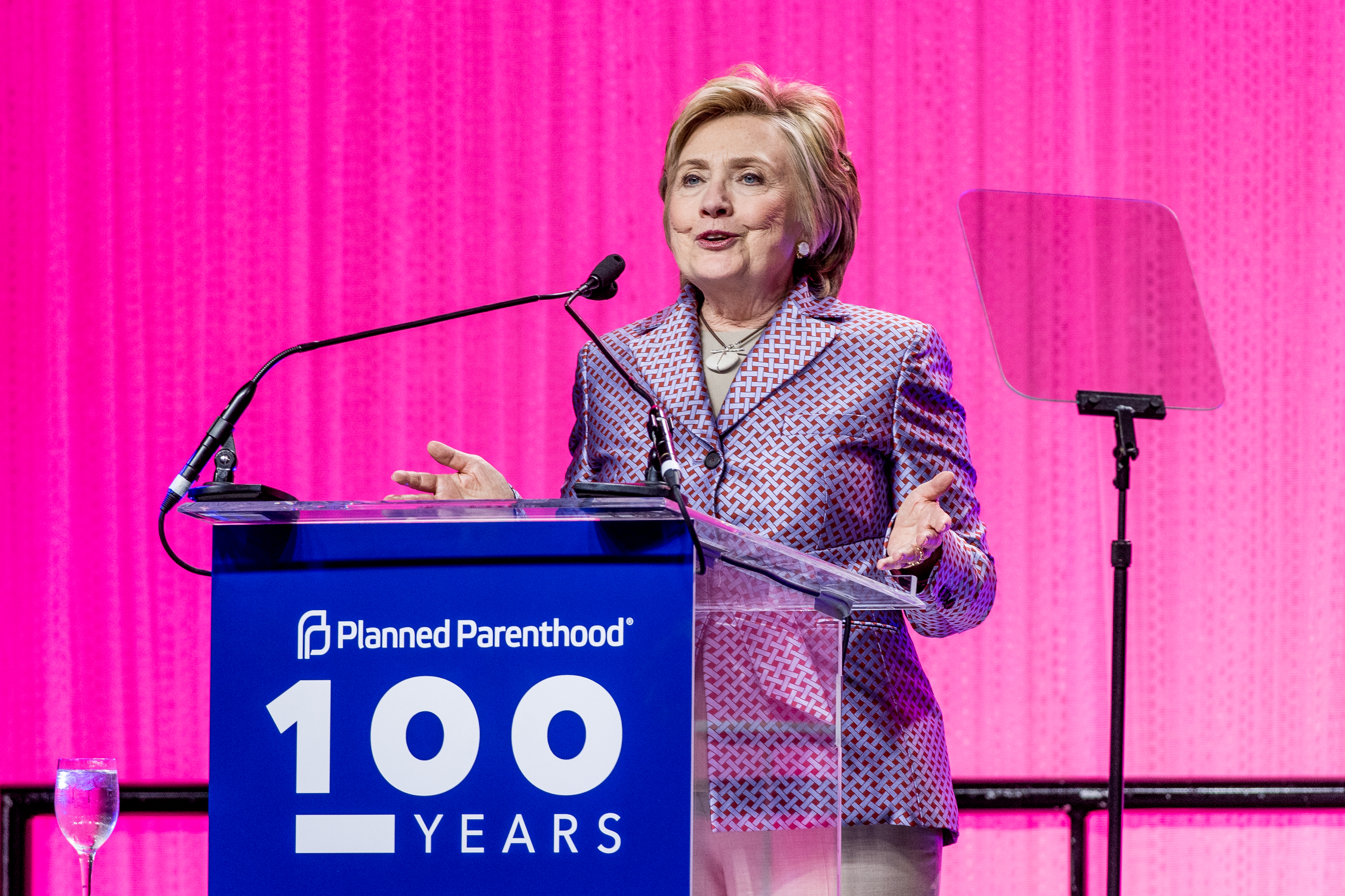 NEW YORK, NY - MAY 02:  Ex Presidential nominee Hillary Clinton speaks during the Planned Parenthood 100th Anniversary Gala at Pier 36 on May 2, 2017 in New York City.  (Photo by Roy Rochlin/FilmMagic)