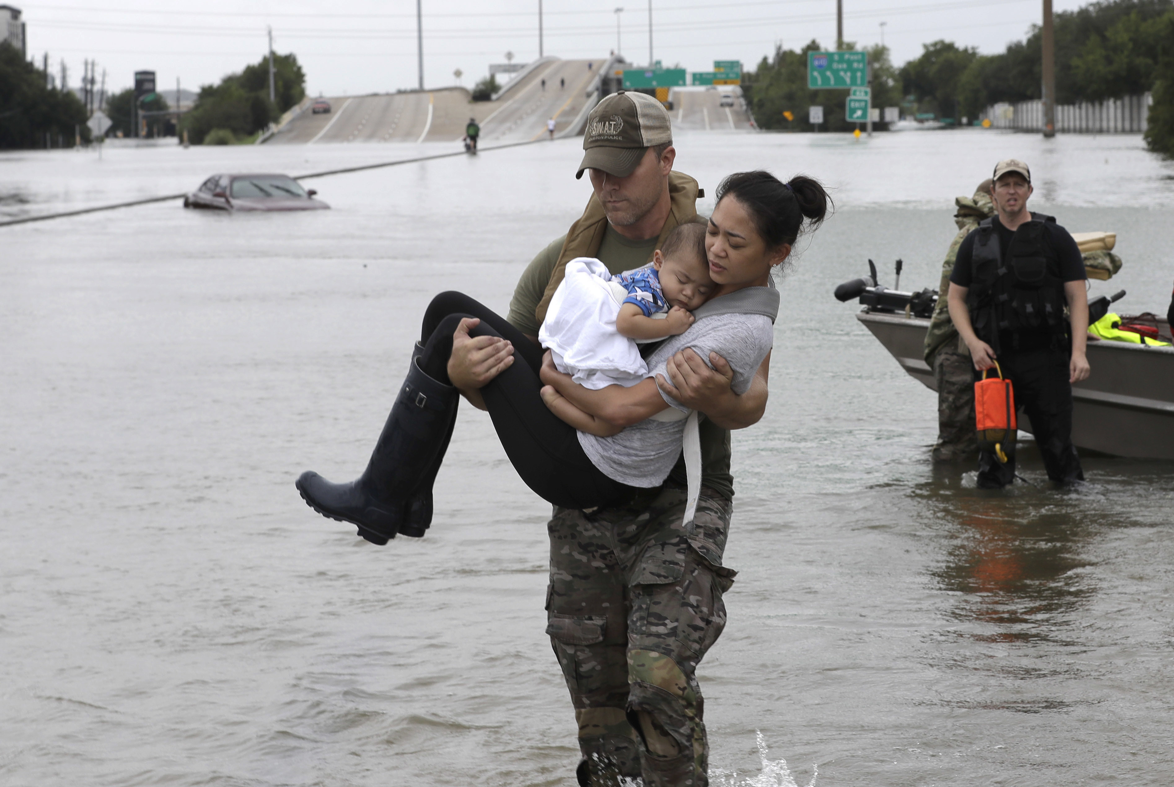 An action shot of Houston Police simply showed SWAT officer Daryl Hudeck doing his job: he was carrying Catherine Pham and her 13-month old son Aiden after rescuing them from their home surrounded by the floodwaters in Hurricane Harvey in August. But once one man used the photo in service of his argument: men are the ultimate protecters, the image paired with the controversial stance launched a widely circulated debate about gender dynamics.