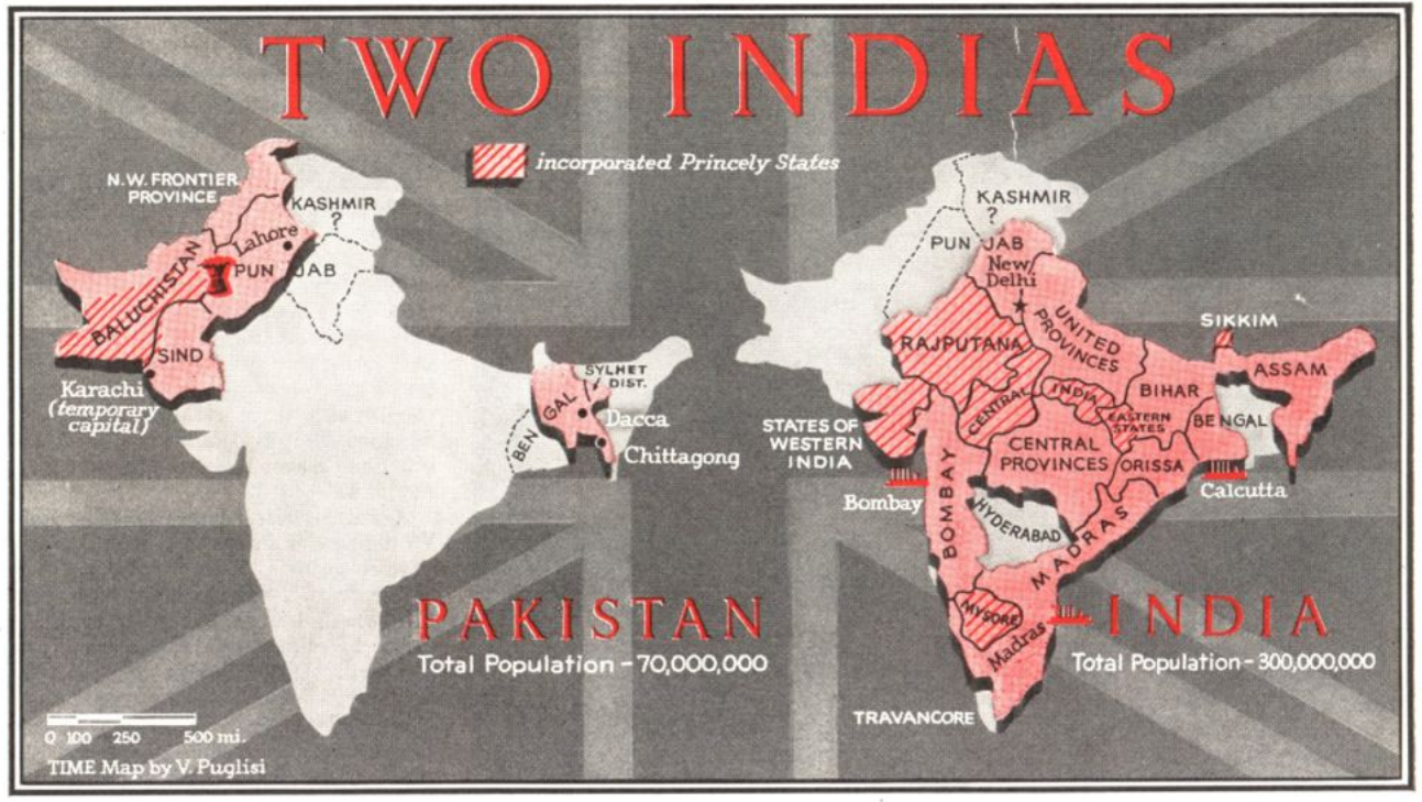 A map of the proposed division of India, from the June 30, 1947, issue of TIME