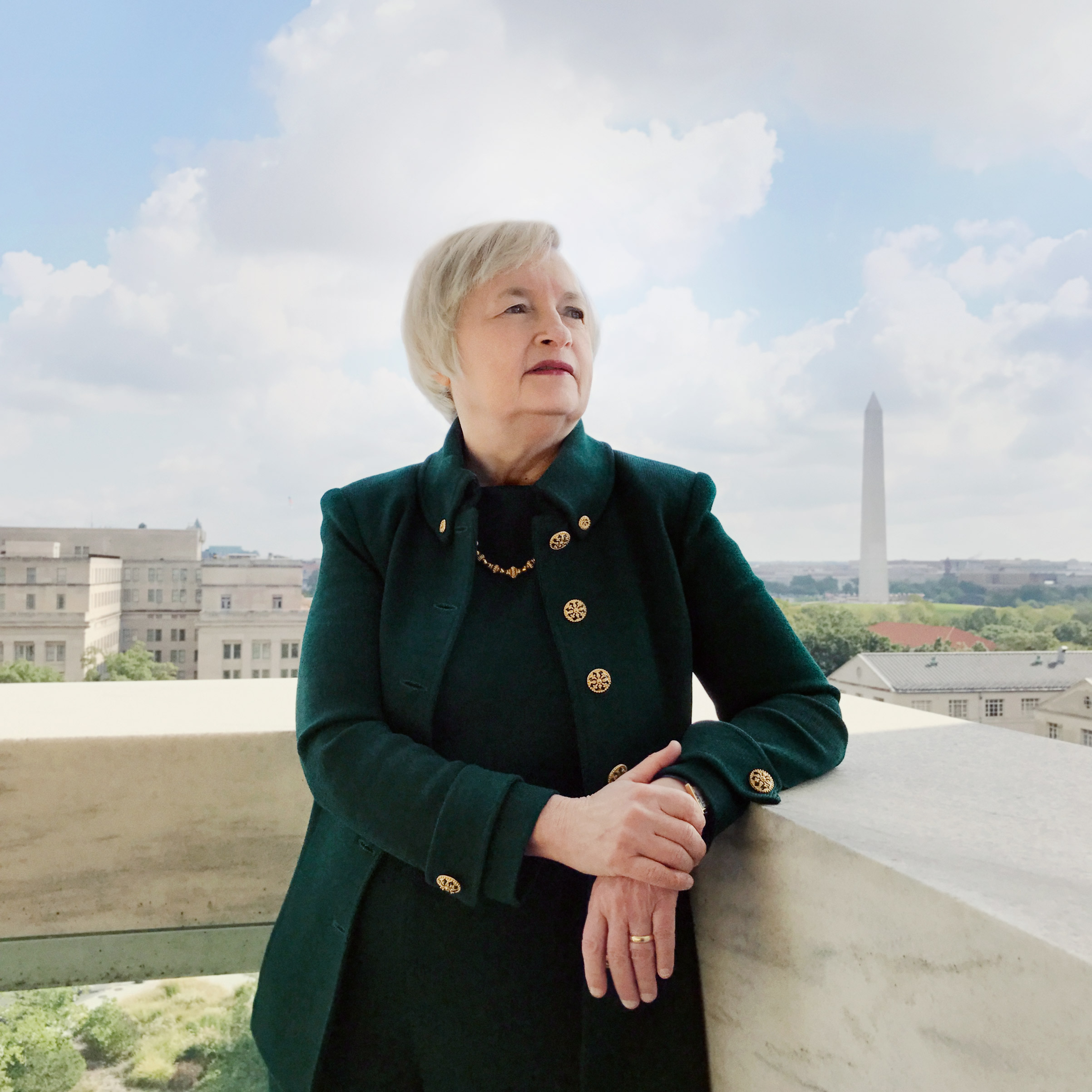 Portrait of Chairwoman Janet Yellen, photographed on the Federal Reserve's cafetria terrace, Washington, D.C., October 4, 2016.