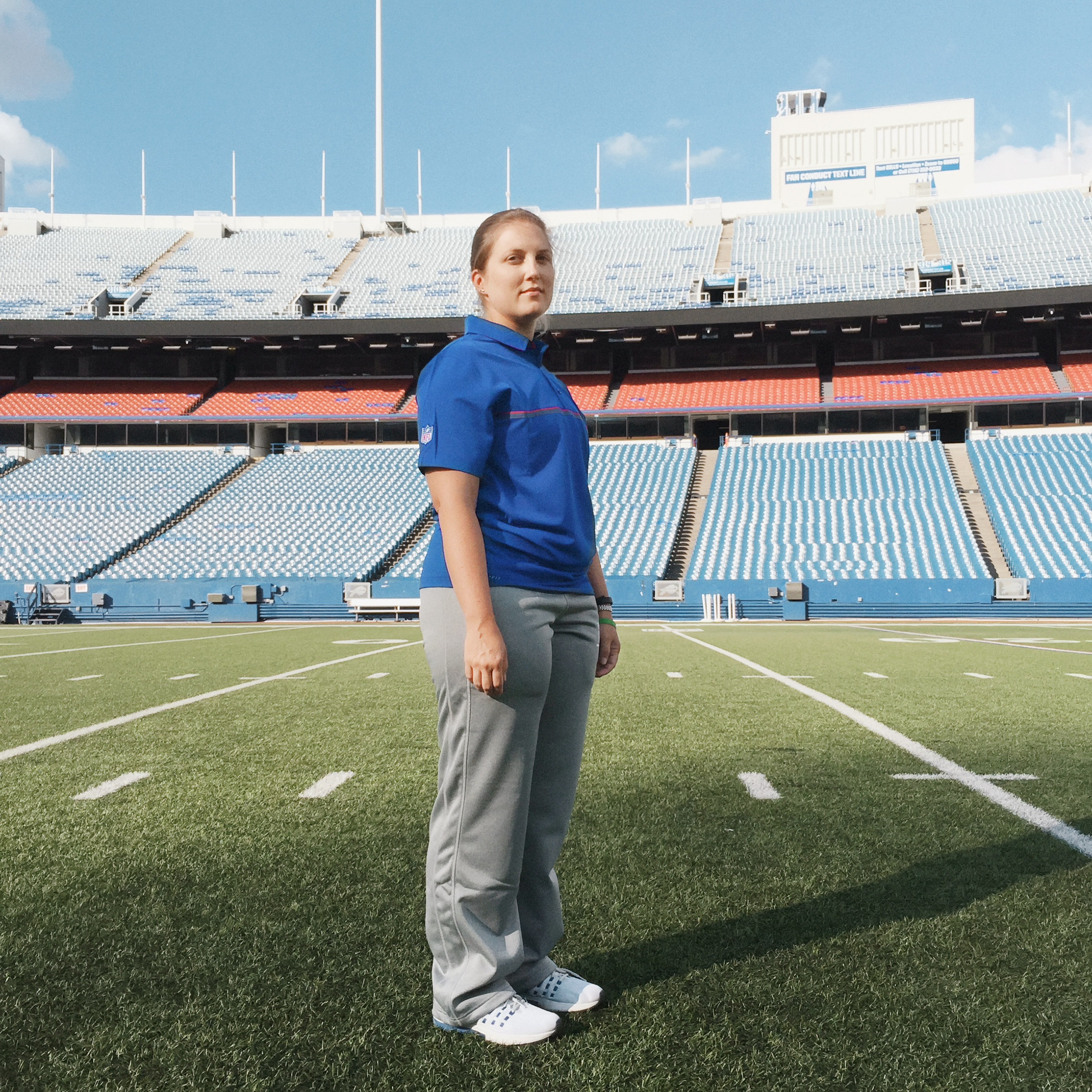 Portrait of Kathryn Smith, photographed at the New Era Field in Buffalo, NY, August 29, 2016.