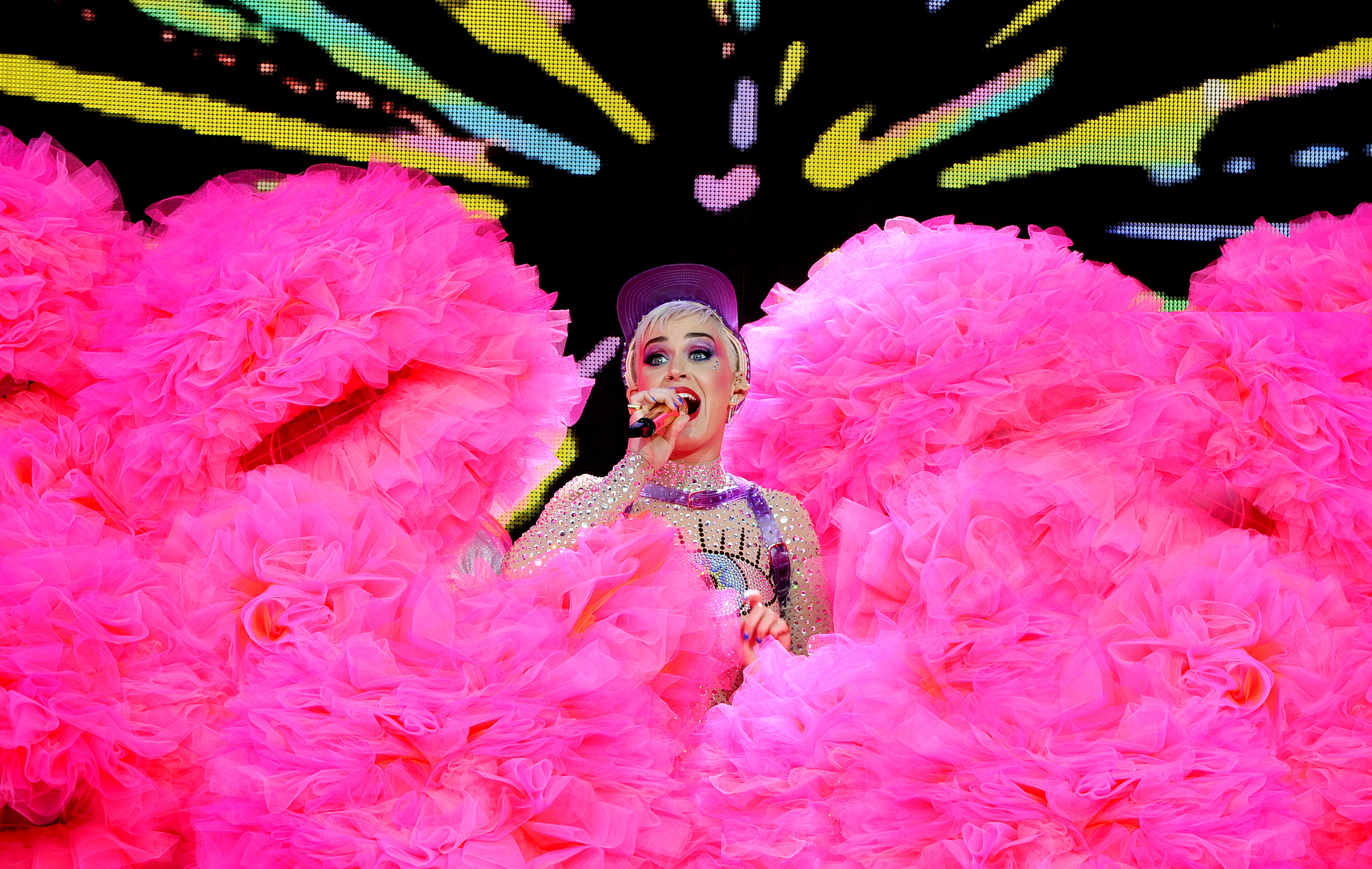 Katy Perry performs on the pyramid stage on day 3 of the Glastonbury Festival 2017 at Worthy Farm, Pilton on June 24, 2017 in Glastonbury, England.