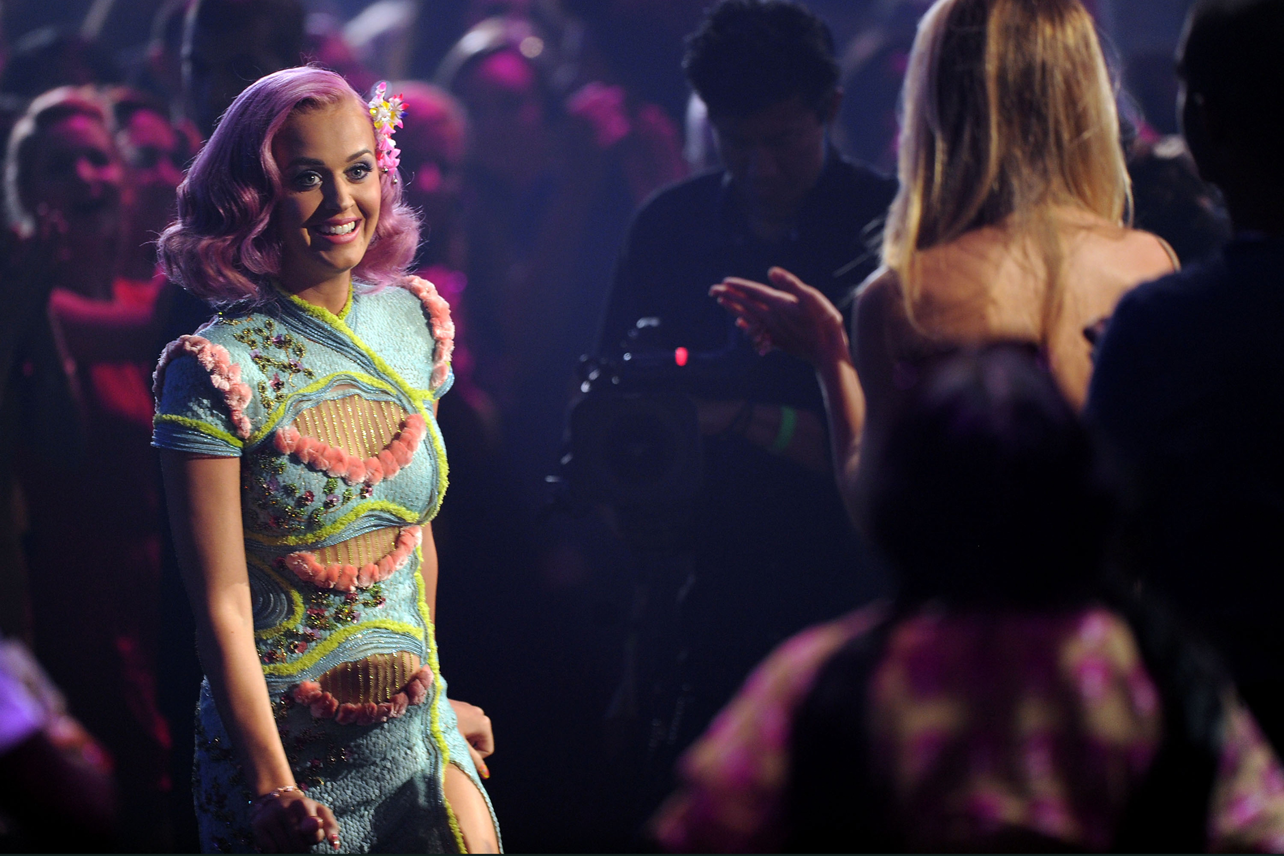 Katy Perry accepts the Best Collaboration award onstage during the 2011 MTV Video Music Awards at Nokia Theatre L.A. LIVE in Los Angeles, on Aug. 28, 2011.