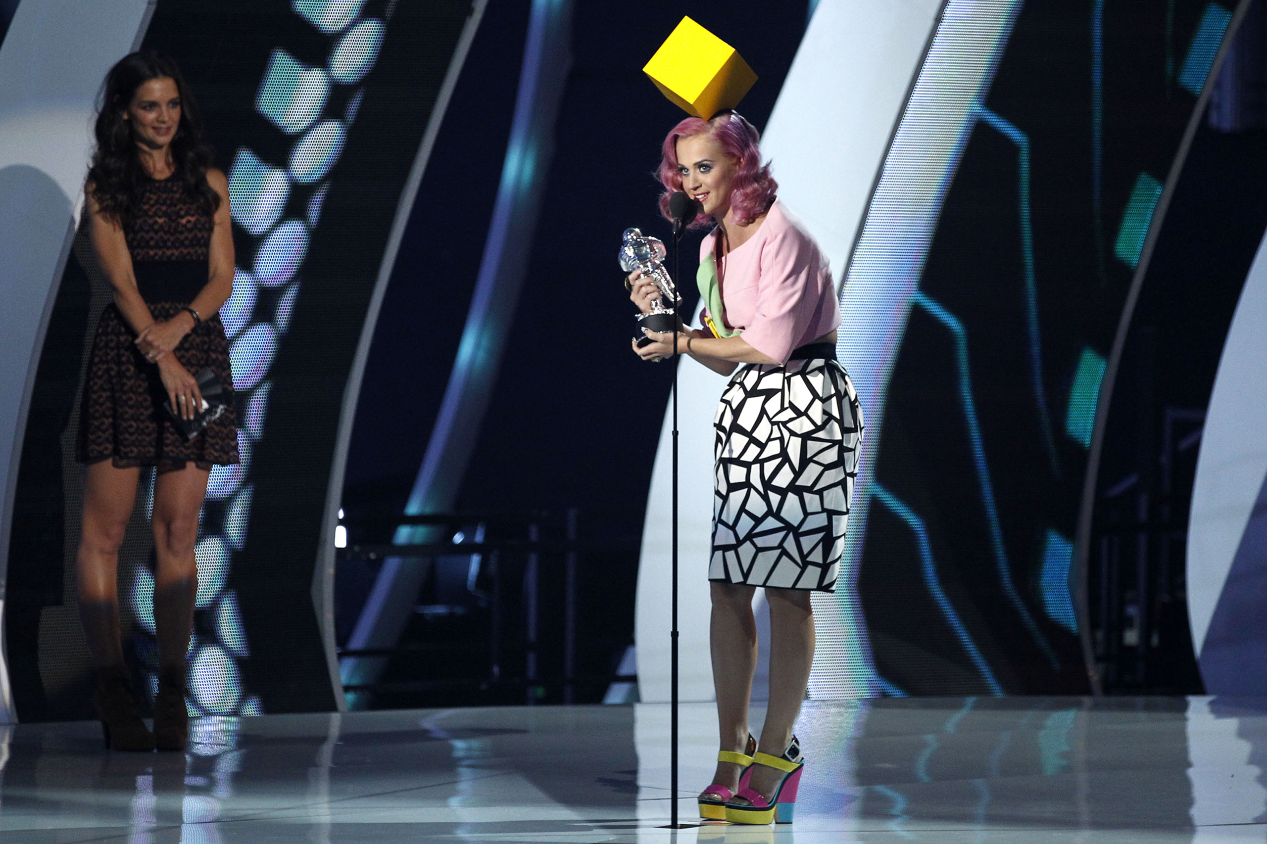 Katy Perry accepts the award for video of the year for  Firework  at the MTV Video Music Awards in Los Angeles, on Aug. 28, 2011.
