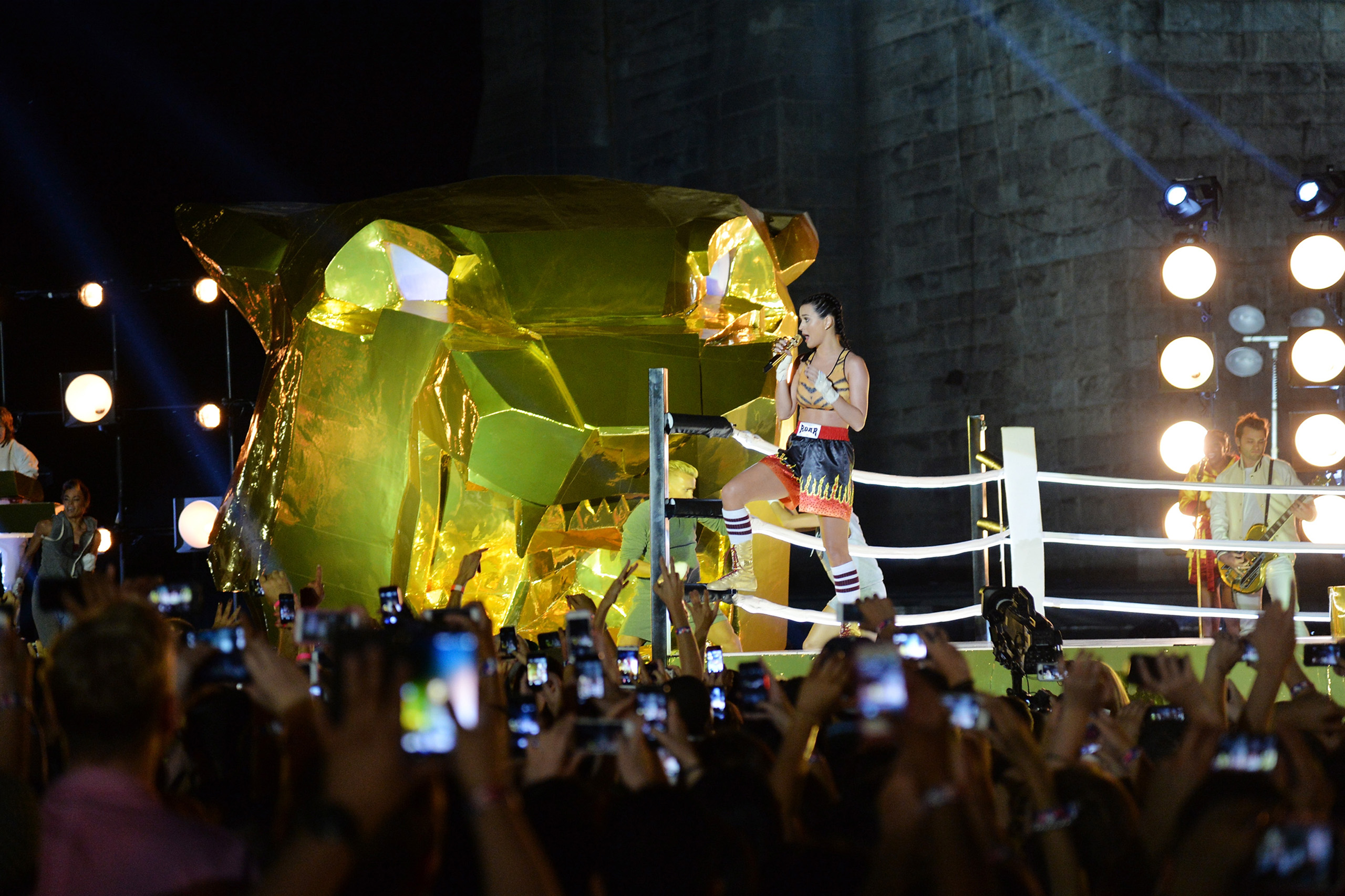 Katy Perry performs during the 2013 MTV Video Music Awards in Empire-Fulton Ferry Park in the Brooklyn borough of New York City, on Aug. 25, 2013.